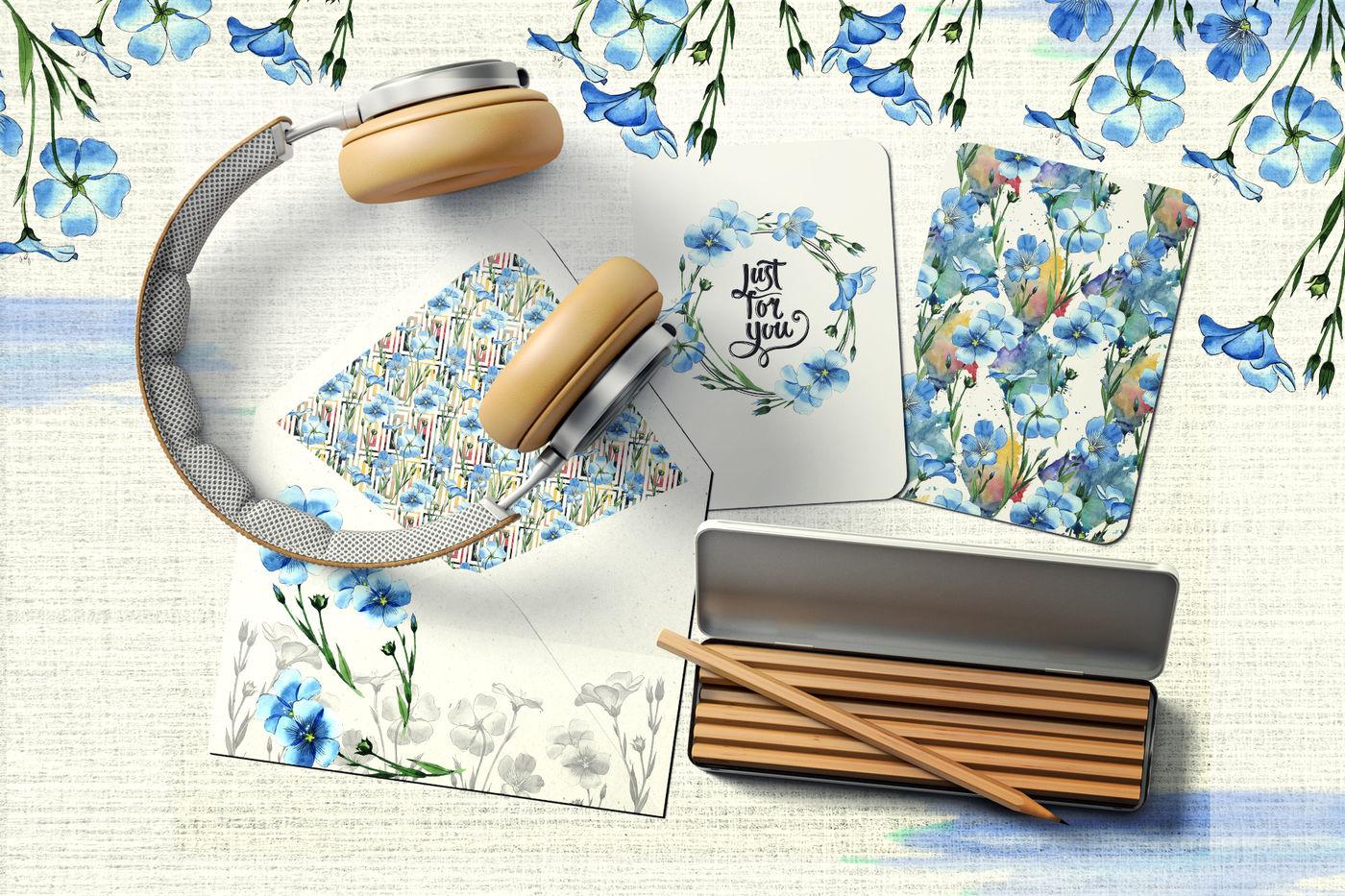 高清亚麻蓝色花卉水彩剪贴画PNG透明图片水彩 Flax Blue Watercolor PNG插图(5)