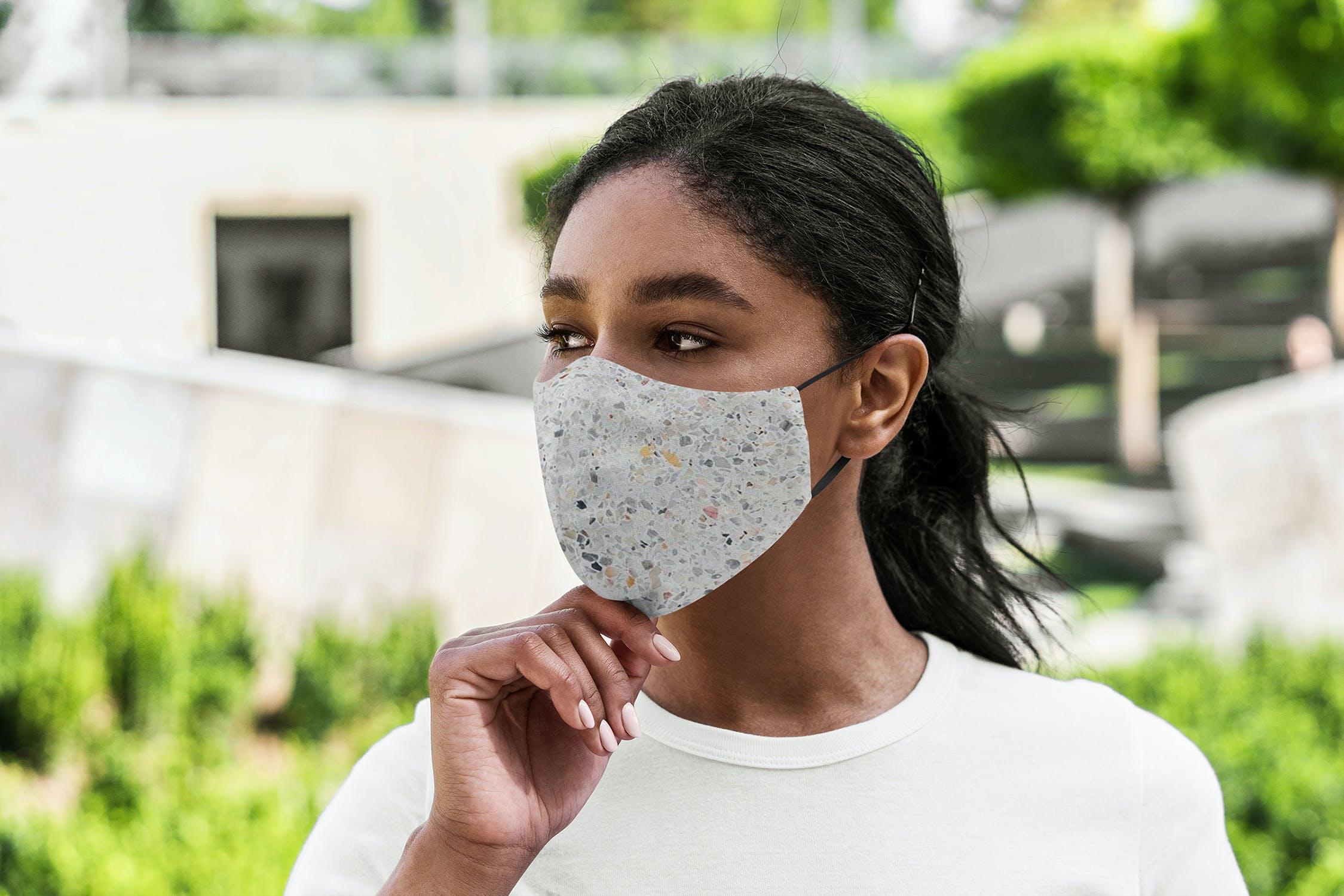 5款防护面罩口罩印花设计展示样机模板 Face Mask Mockup Lifestyle Vol.2插图(5)