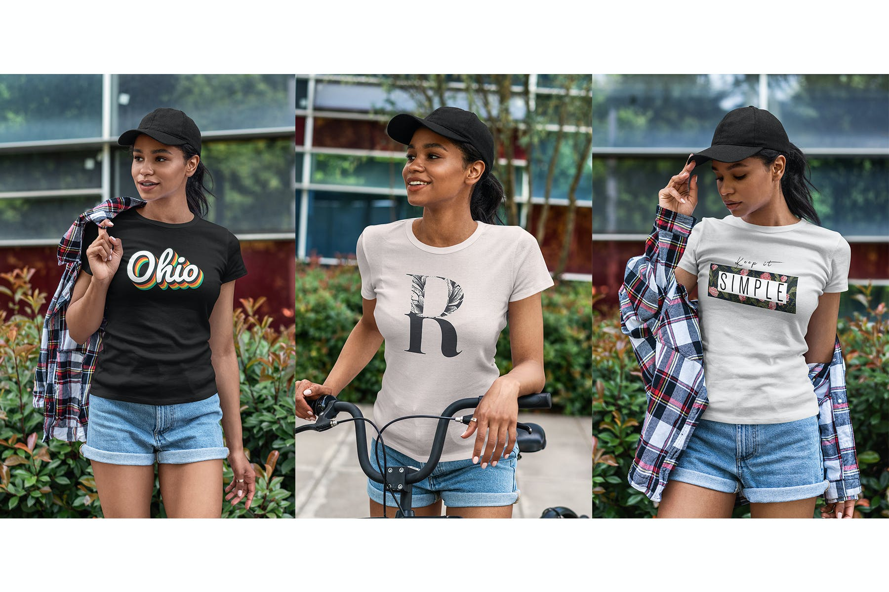 9款女性T恤半袖衫设计展示样机 T-Shirt Mockup Black Girl插图(5)