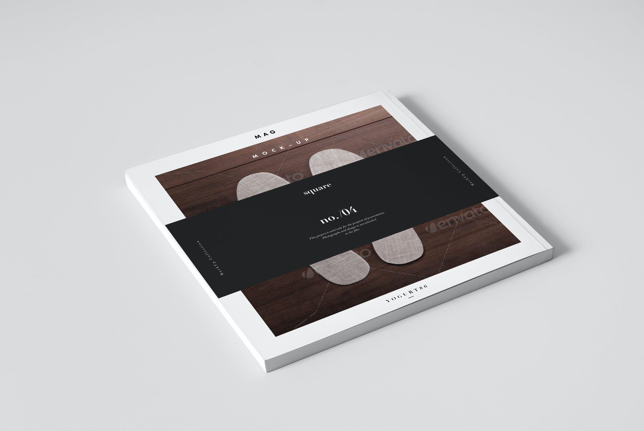 8款逼真方形杂志画册设计展示样机 Square Magazine Mockup插图(5)