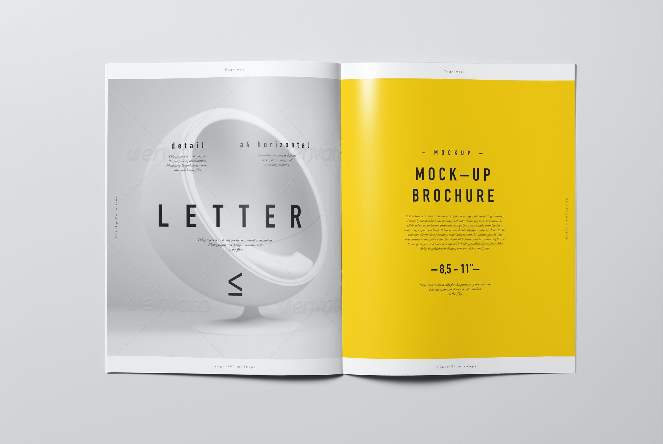 8款逼真骑马钉杂志画册设计展示样机模板 US Letter Brochure Mockup 2插图(5)