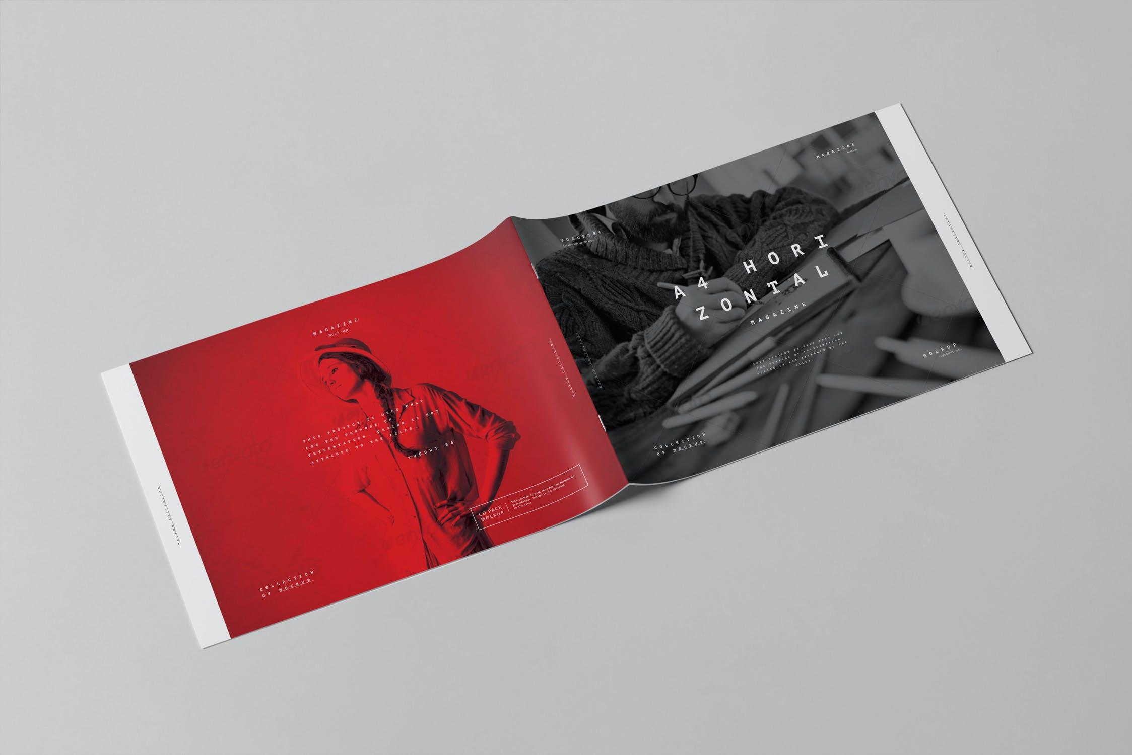 10款横版A4画册杂志设计展示样机模板 A4 Horizontal Brochure Mockup 3插图(5)