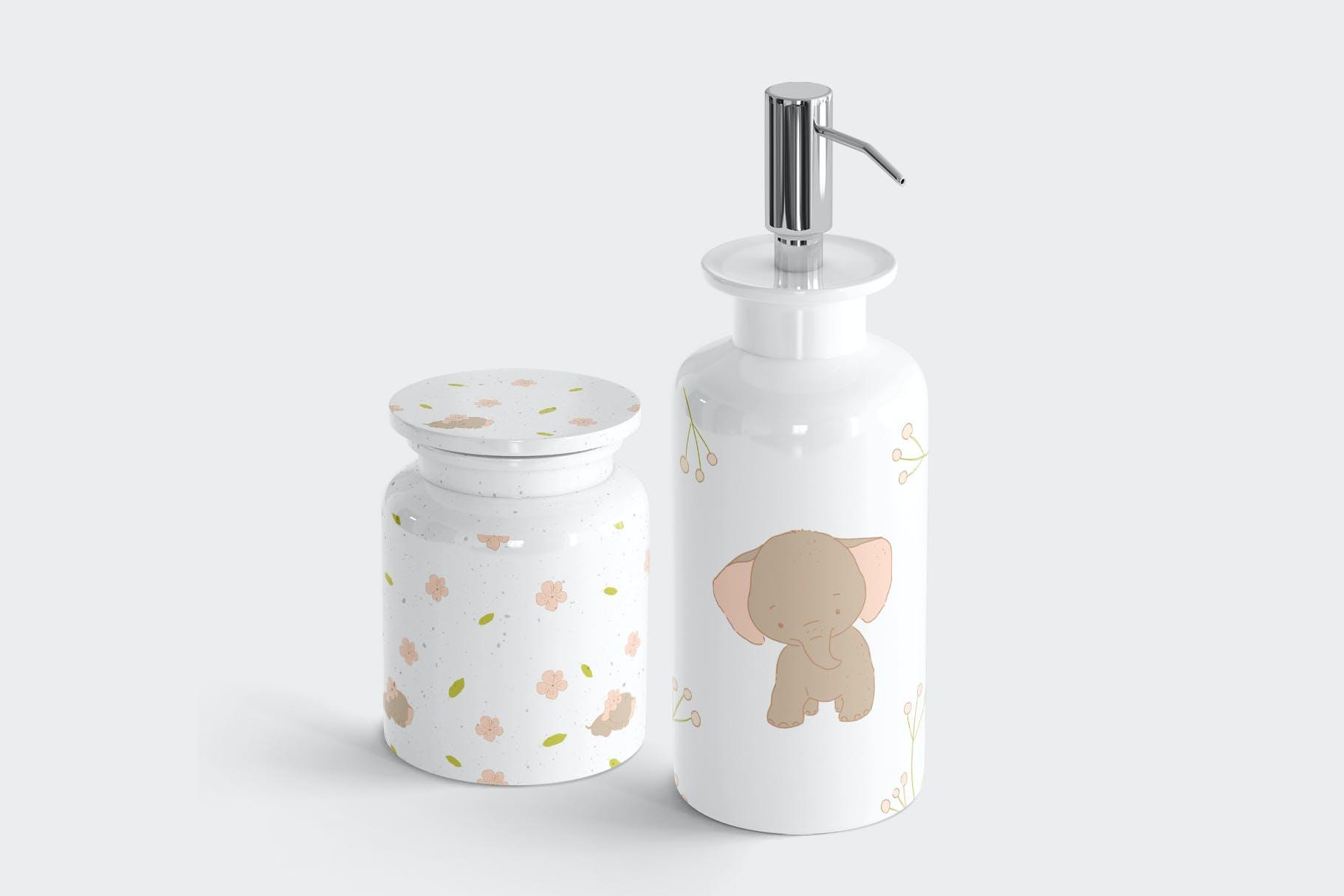 可爱卡通手绘大象花卉插画矢量素材 Baby Shower Elephants插图(5)