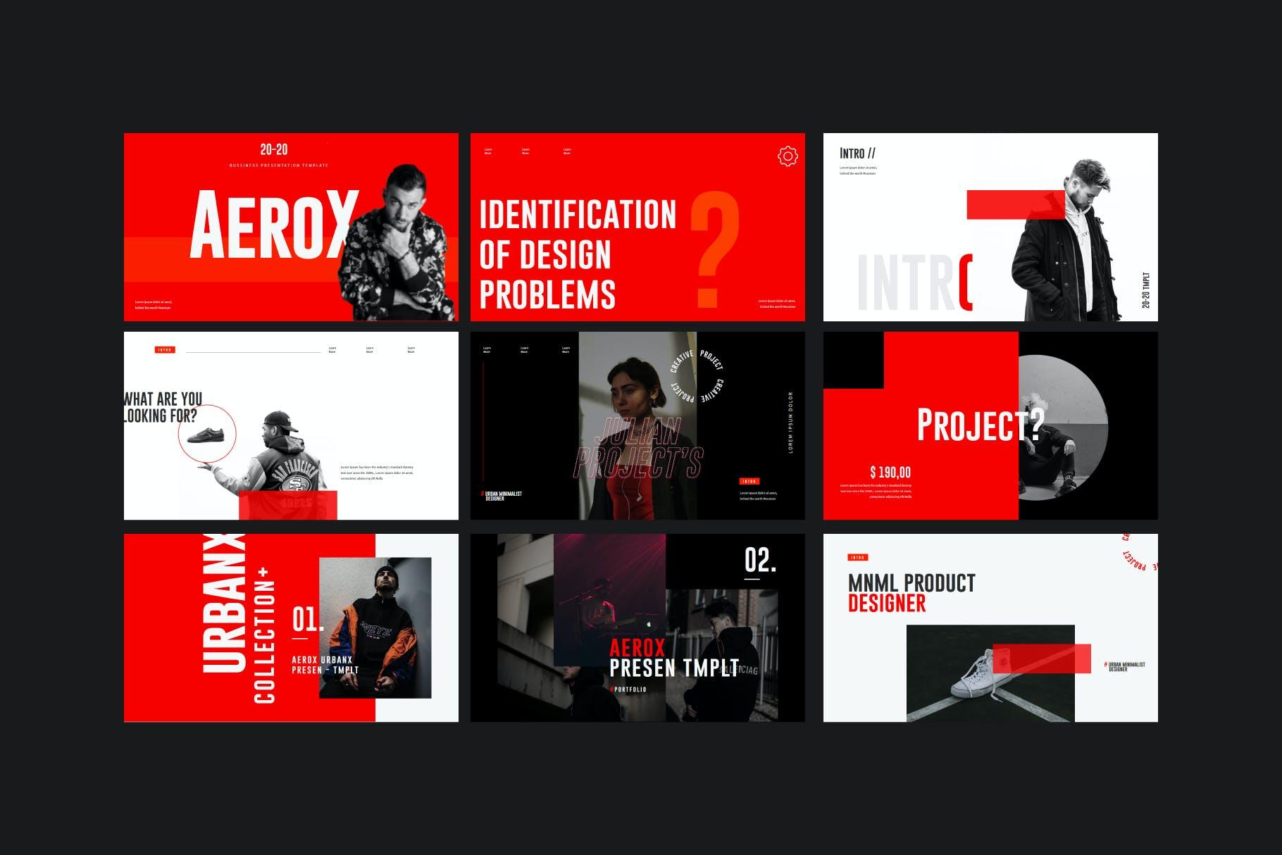 时尚潮流撞色运动潮牌品牌推广PPT演示文稿模板素材 Aerox – Powerpoint Template插图(5)