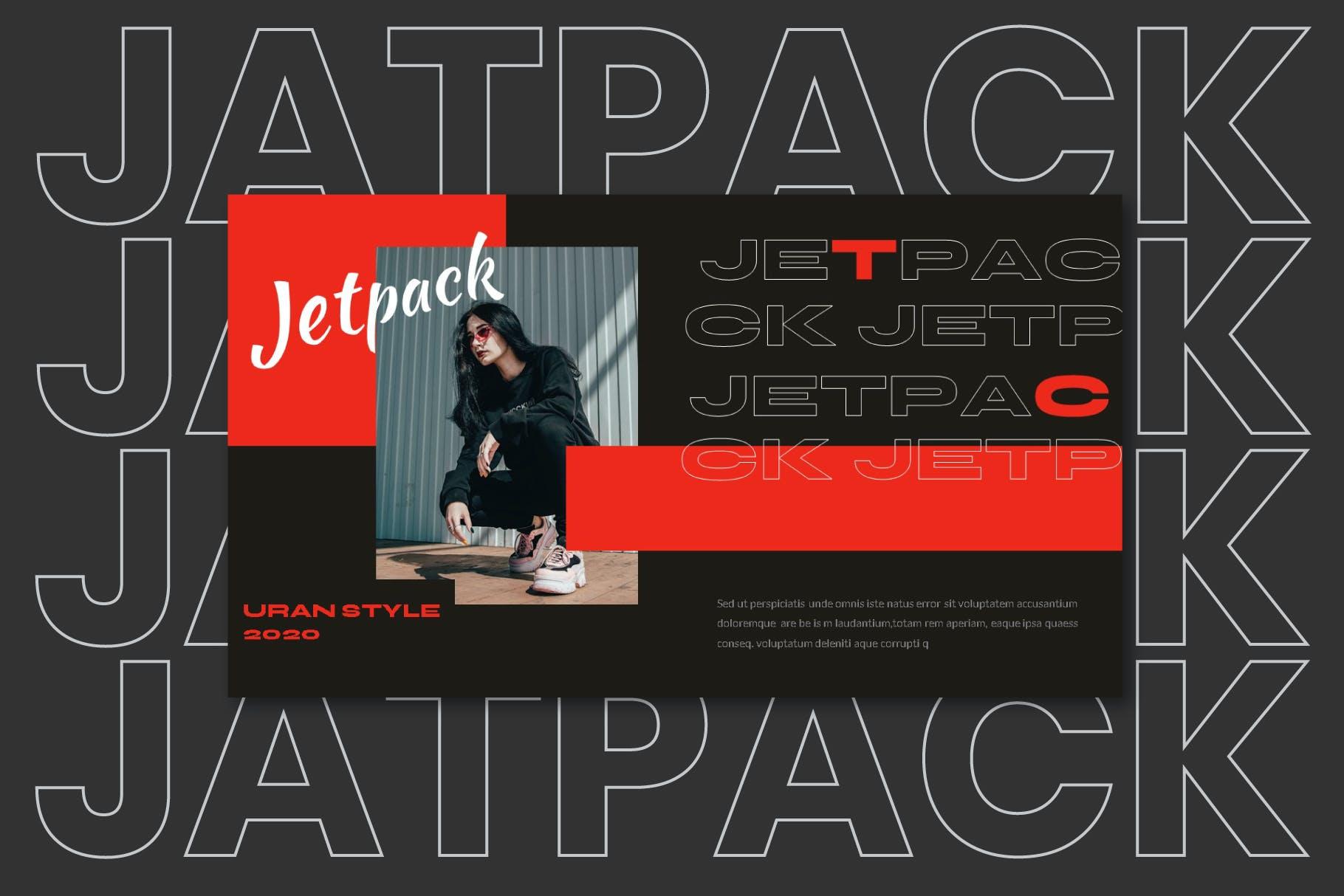 时尚潮流街头文化潮牌品牌推广深色PPT演示文稿模板 Jetpack – Powerpoint Template插图(5)
