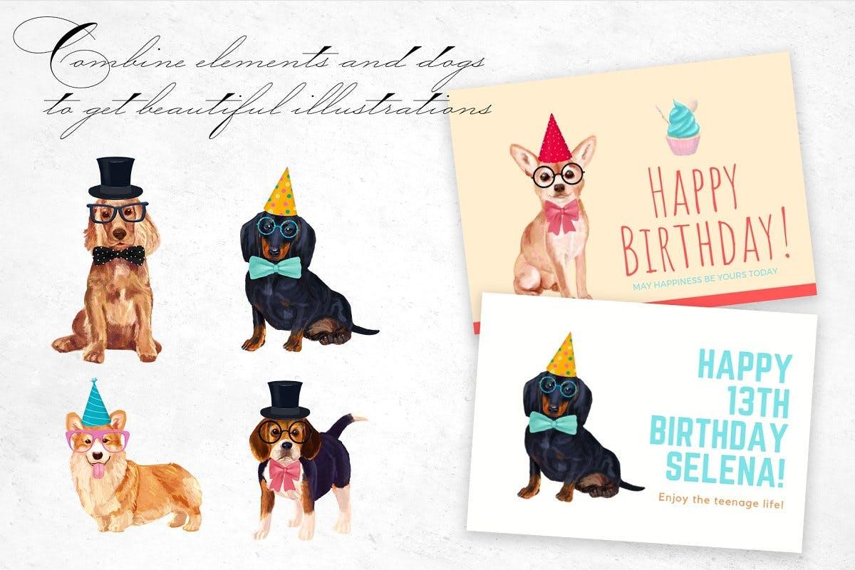 高清手绘狗狗元素水彩画PNG免抠图片素材 Dog Breeds Illustrations插图(5)