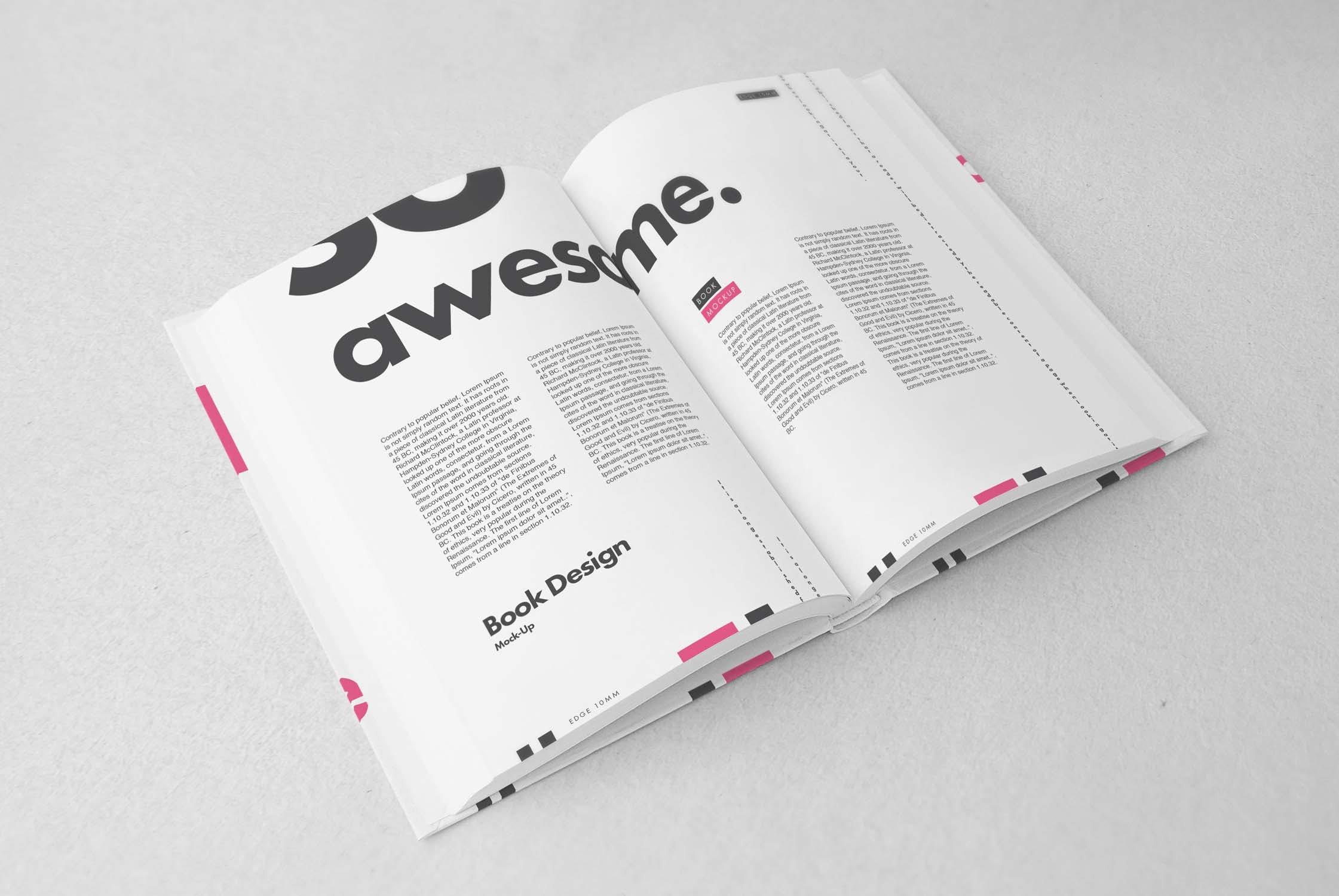 逼真精装书画册设计展示样机PSD模板素材 Book Mockup插图(5)