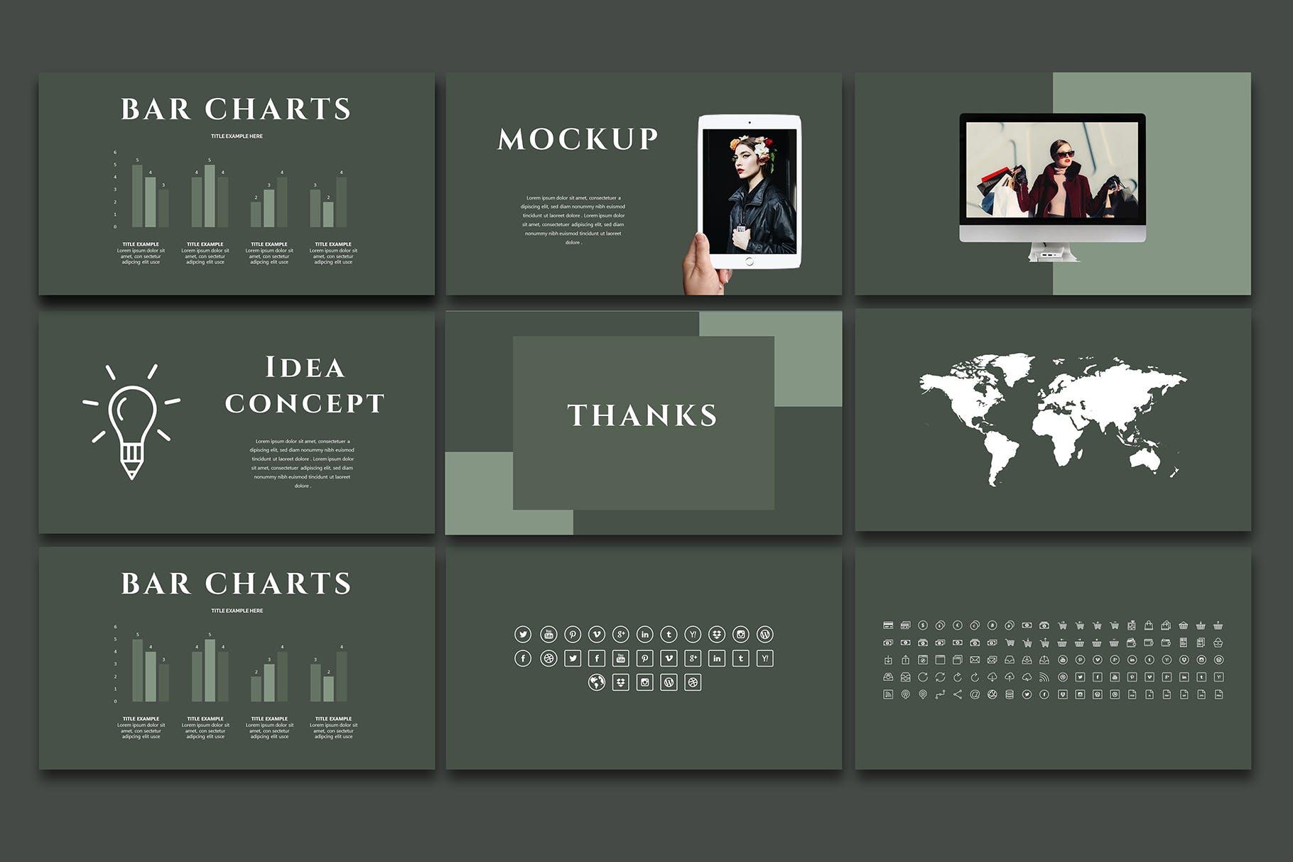 时尚优雅极简莫兰迪色时尚品牌推广PPT演示文稿模板 Arriety – PowerPoint Template插图(5)