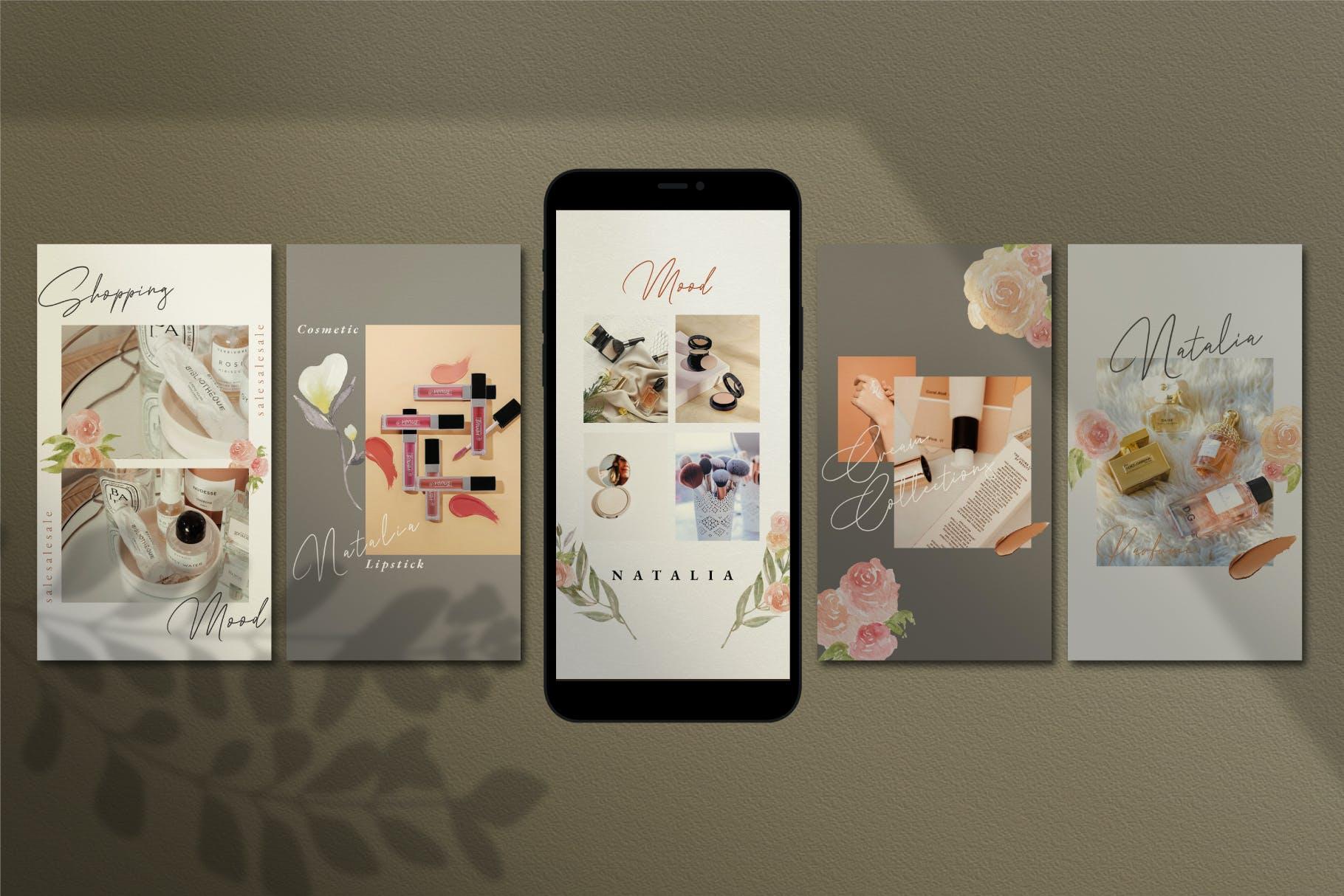 时尚化妆品品牌推广新媒体电商海报设计模板 Natalia – Instagram Post and Stories插图(5)