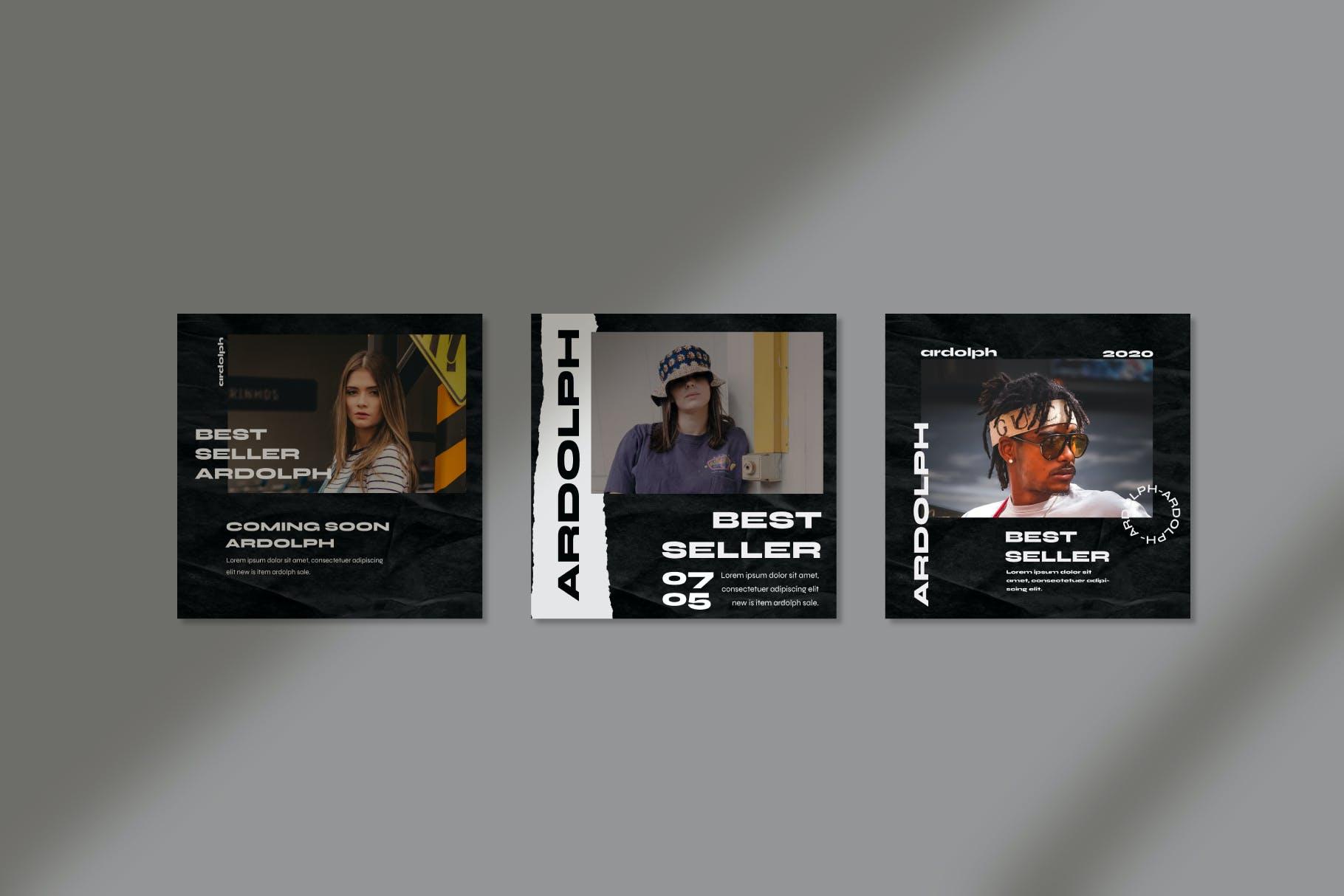 时尚撕纸效果街头潮牌品牌推广新媒体海报设计PSD模板 Ardolph – Instagram Post and Stories插图(5)