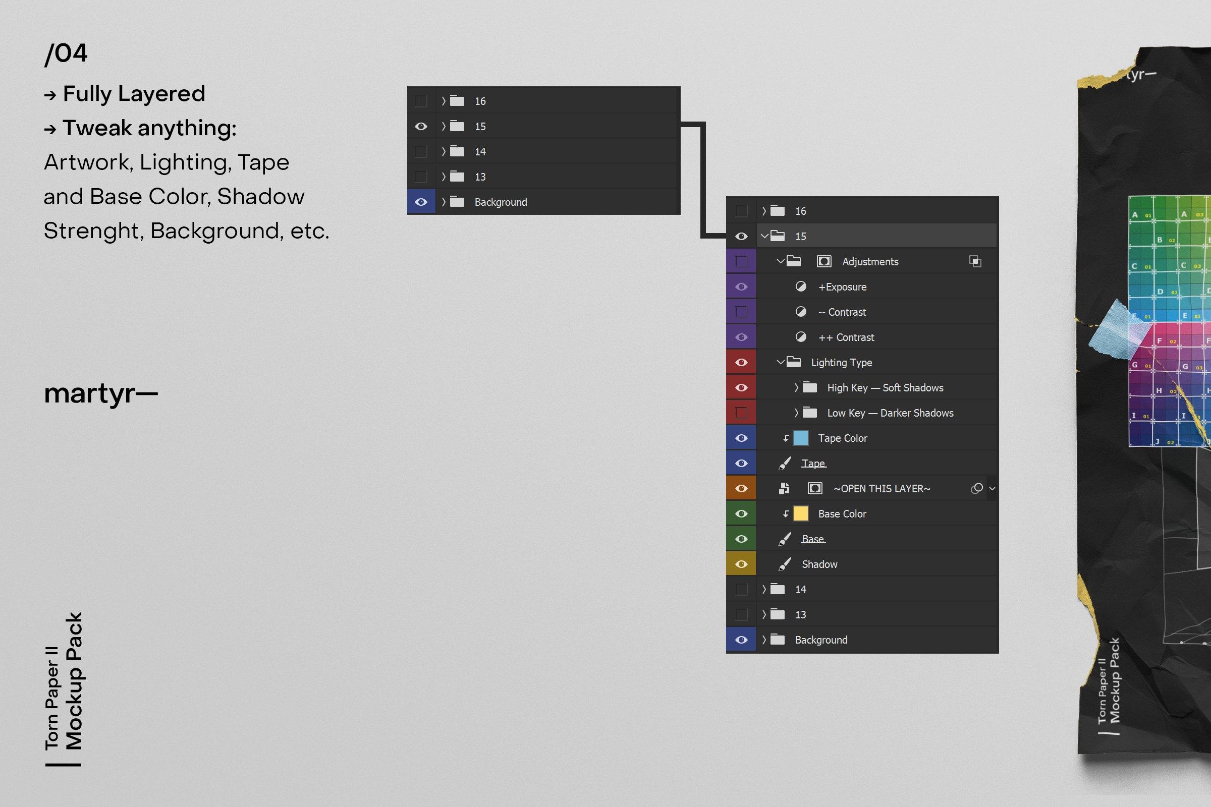 [淘宝购买]32款潮流破损撕裂褶皱A4纸张海报传单设计样机模板 Torn Paper II — Mockup Pack插图(5)