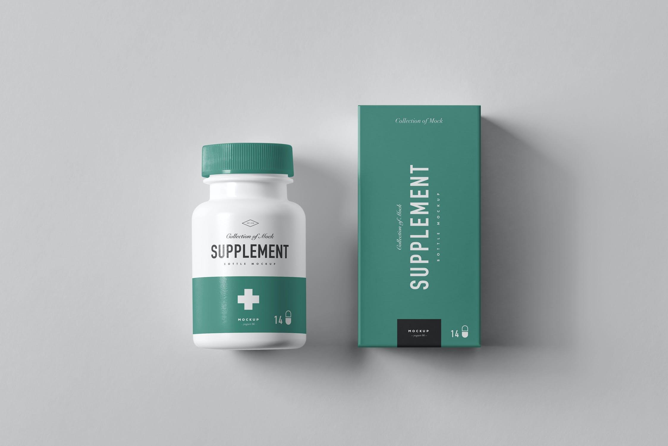 8款药物补充瓶塑料瓶包装盒设计展示样机模板 Supplement Bottle Mockup插图(5)