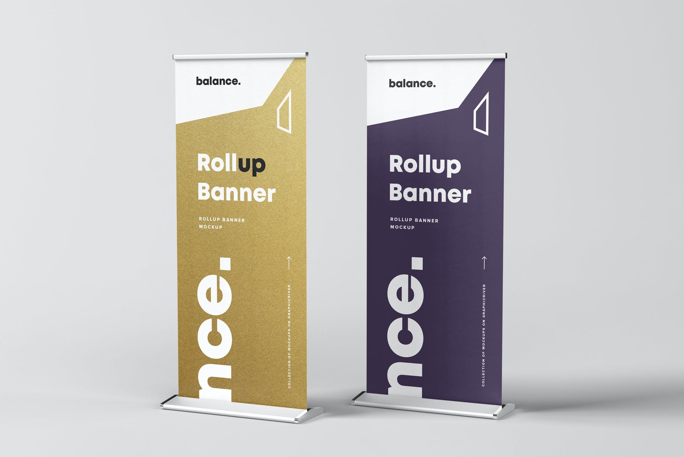 7款自立式易拉宝展架横幅海报设计展示样机模板 Roll Up Banner Mockup插图(5)