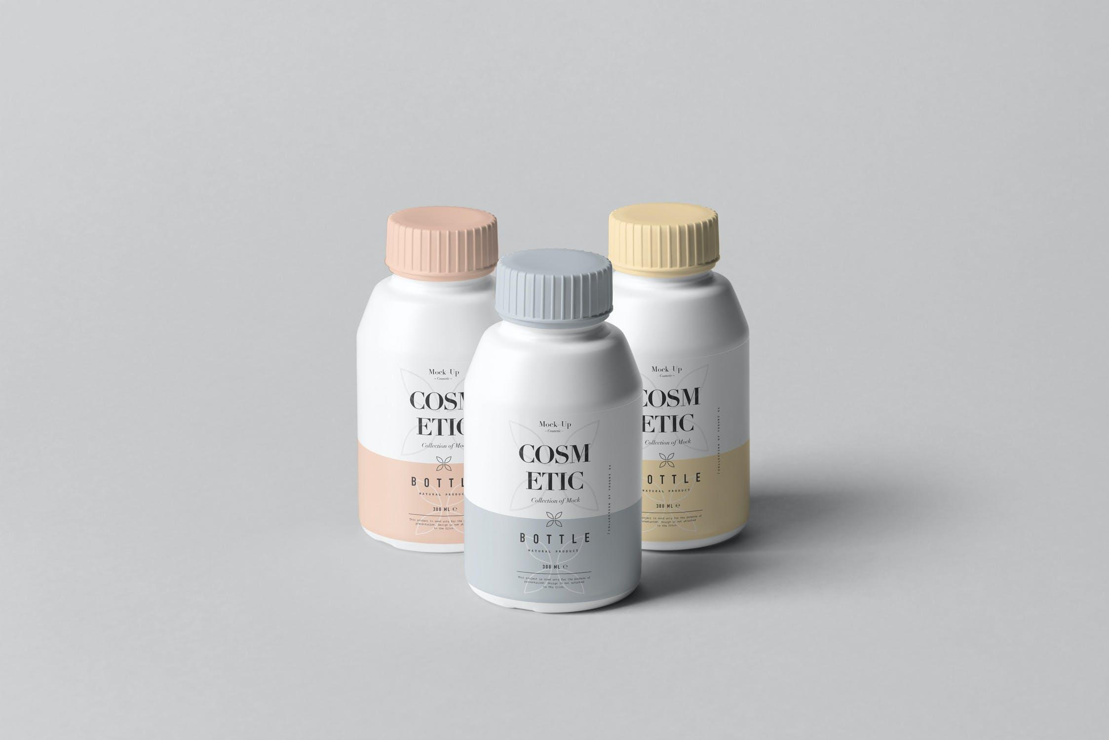 10款化妆品塑料包装罐设计展示样机PSD模板 Cosmetic Bottle Mockup 3插图(5)