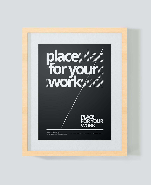 时尚绘画艺术品海报照片展示相框样机PSD模板 Frame For Your Work插图(5)