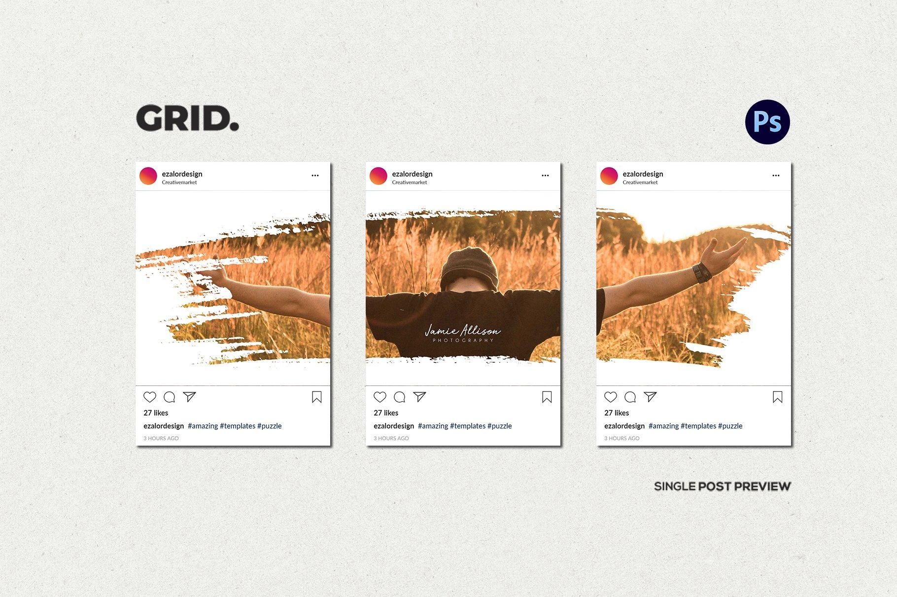毛笔笔刷效果新媒体电商海报设计PSD模板 Agenda Insta Grid (Triple Posts)插图(5)