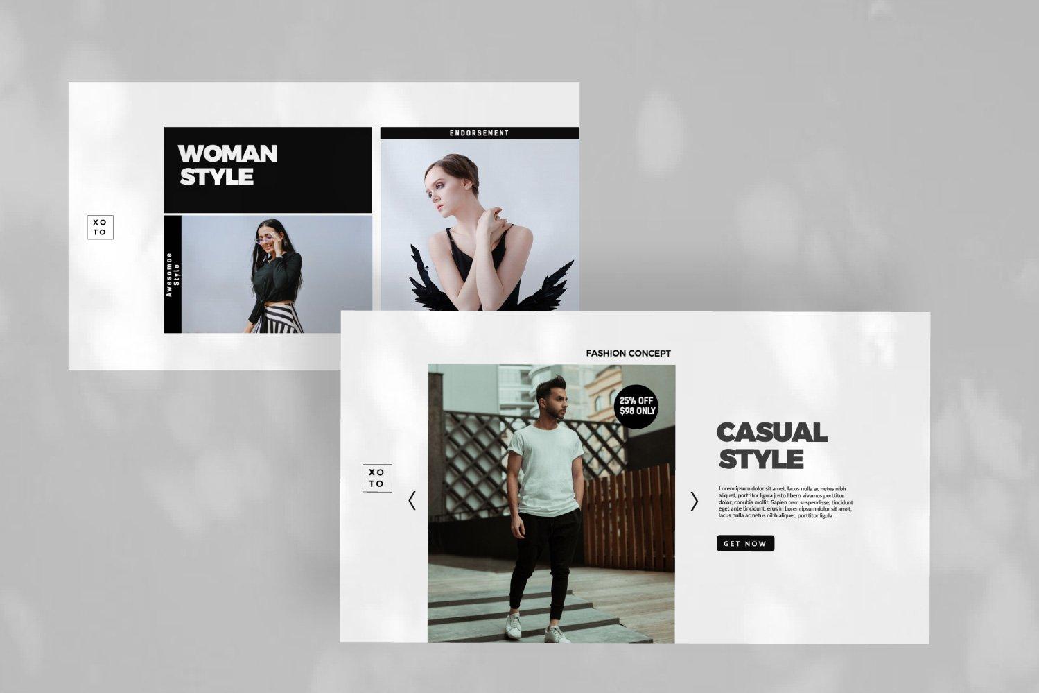 时尚简约服装设计作品集演示文稿模板 Xoto – Fashion Minimal Powerpoint插图(5)