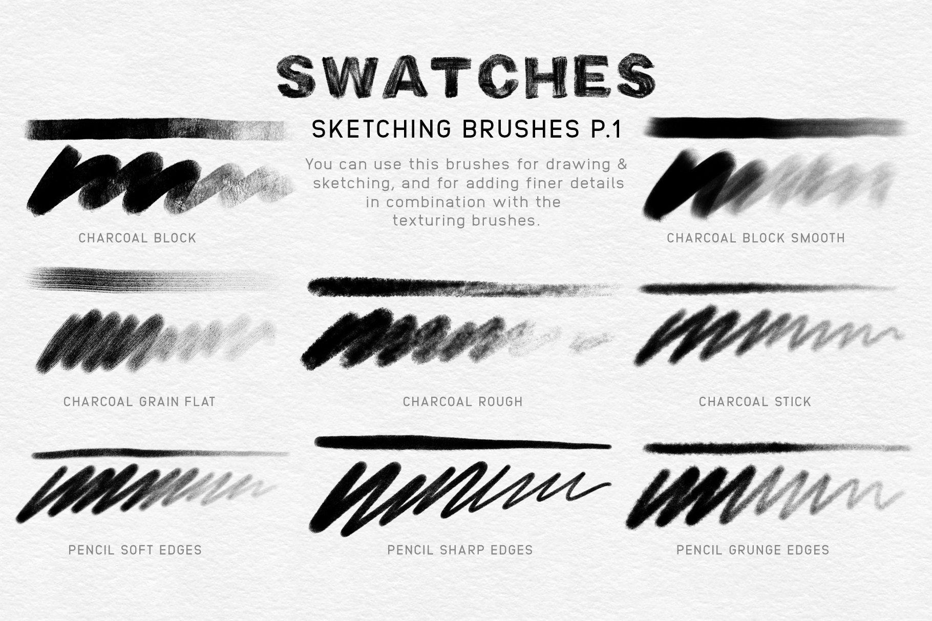 20款木炭铅笔素描绘画画笔Procreate笔刷 Charcoal Procreate Brushes插图(7)
