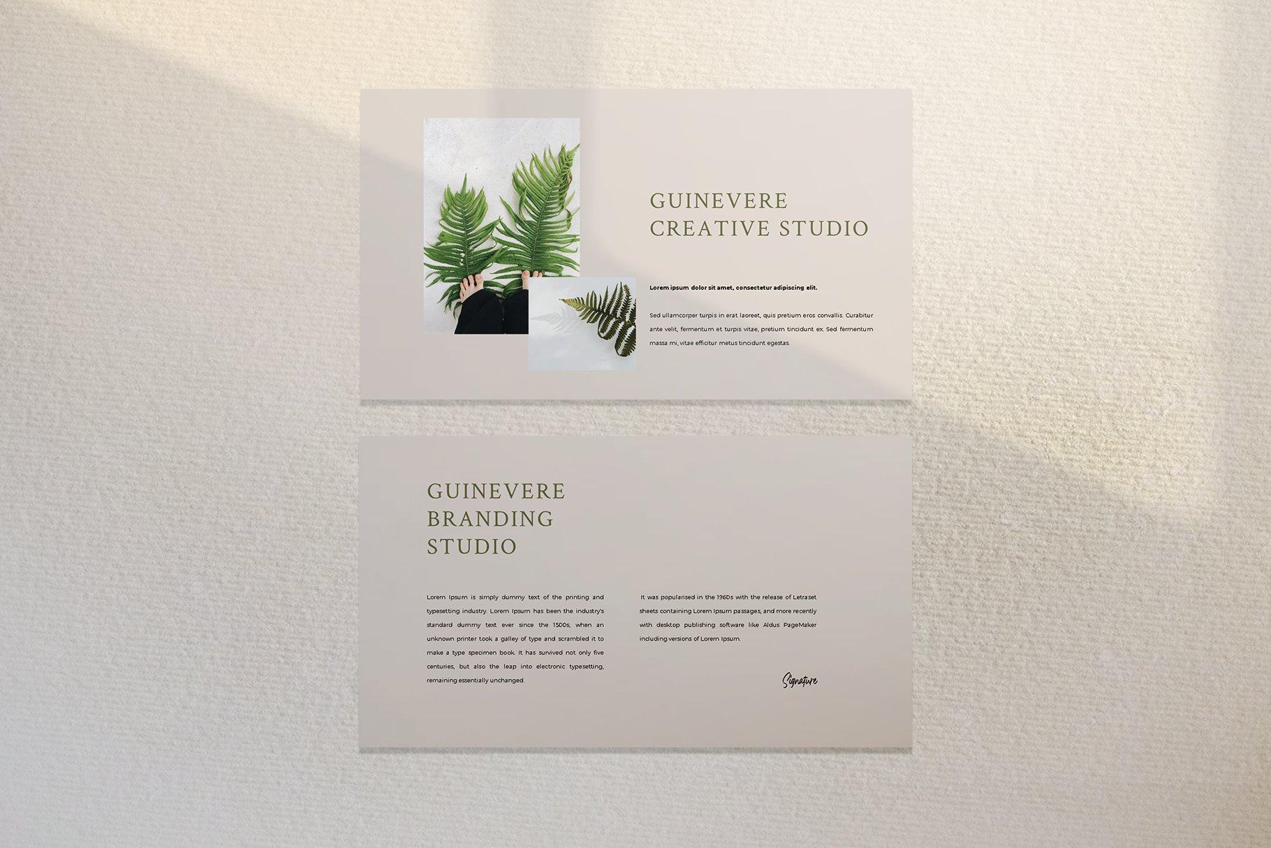 时尚品牌摄影作品集营销PPT幻灯片设计模板 Guinevere Presentation Template插图(9)