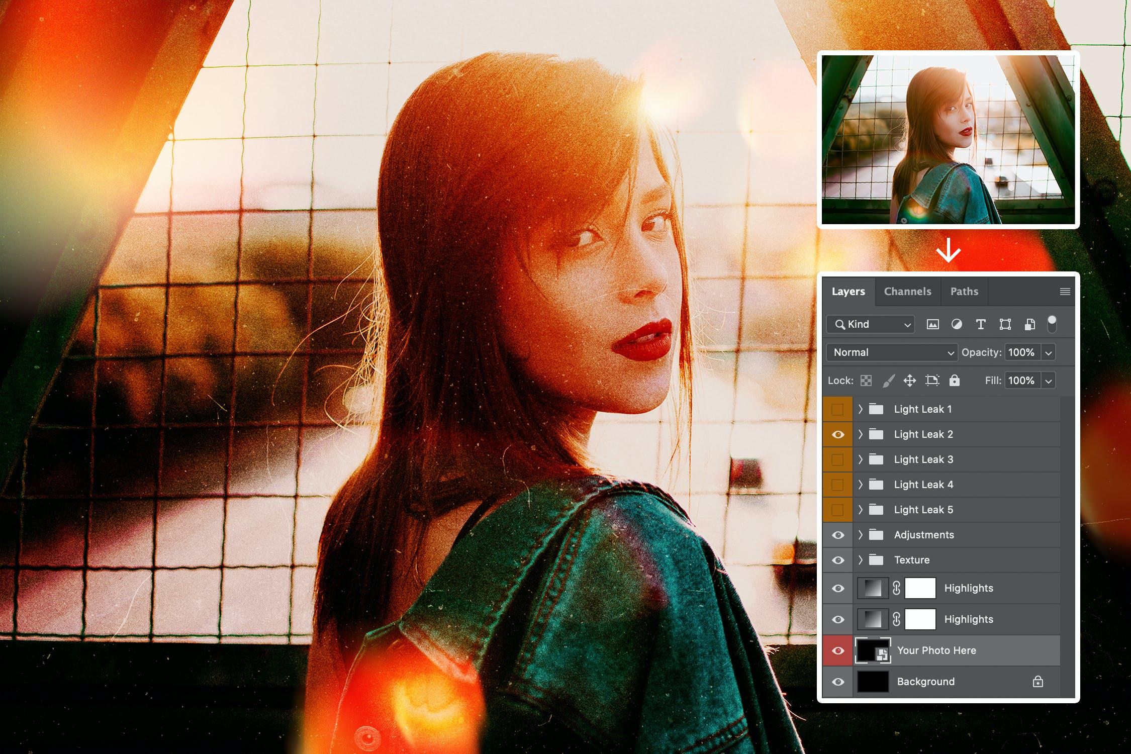 5款炫酷自然漏光图片叠层效果PS设计素材 Light Leak Photo Template插图(6)