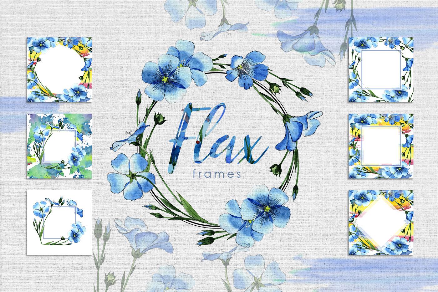 高清亚麻蓝色花卉水彩剪贴画PNG透明图片水彩 Flax Blue Watercolor PNG插图(6)
