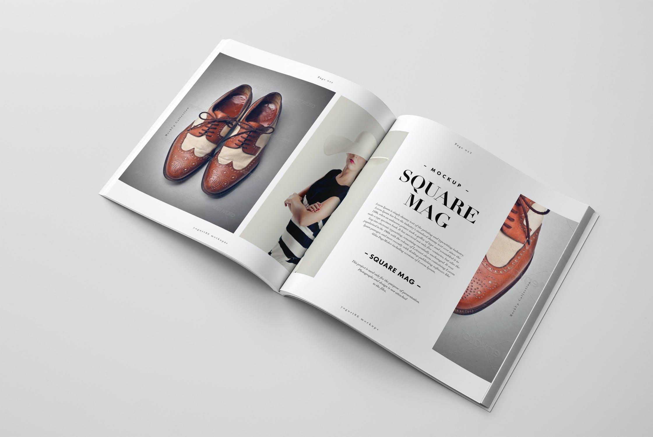 8款逼真方形杂志画册设计展示样机 Square Magazine Mockup插图(6)