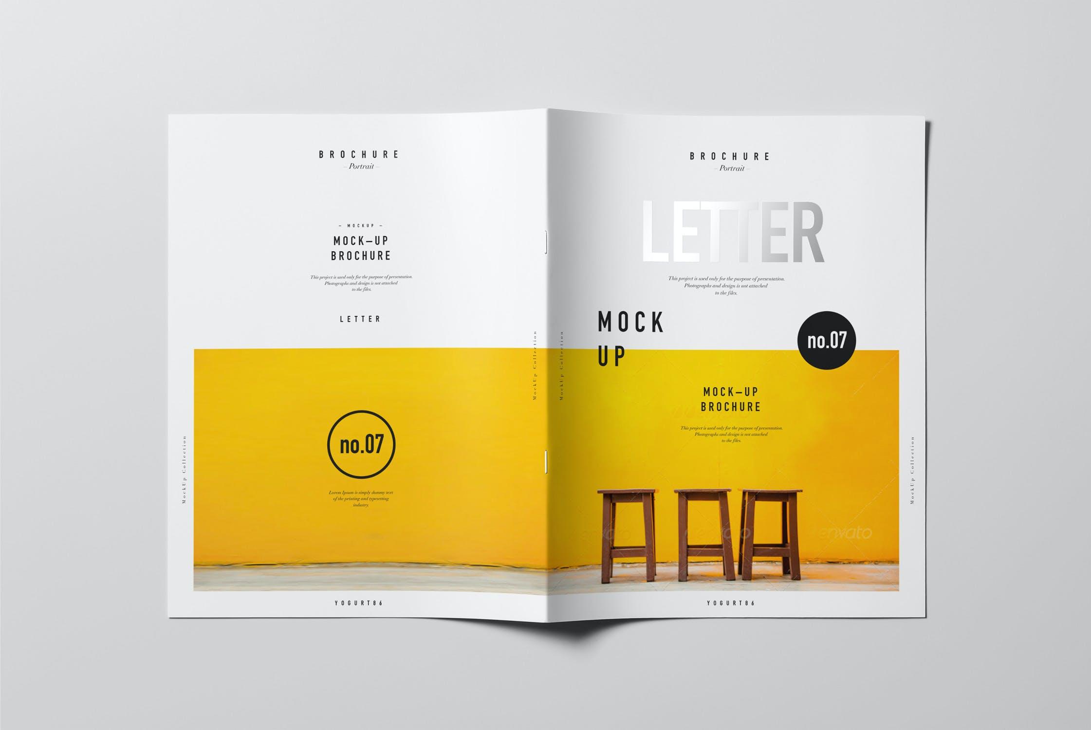 8款逼真骑马钉杂志画册设计展示样机模板 US Letter Brochure Mockup 2插图(6)