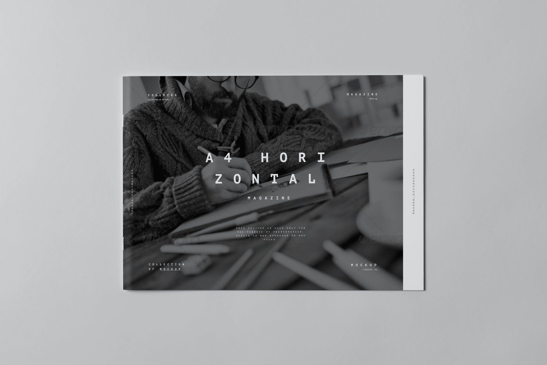 10款横版A4画册杂志设计展示样机模板 A4 Horizontal Brochure Mockup 3插图(6)