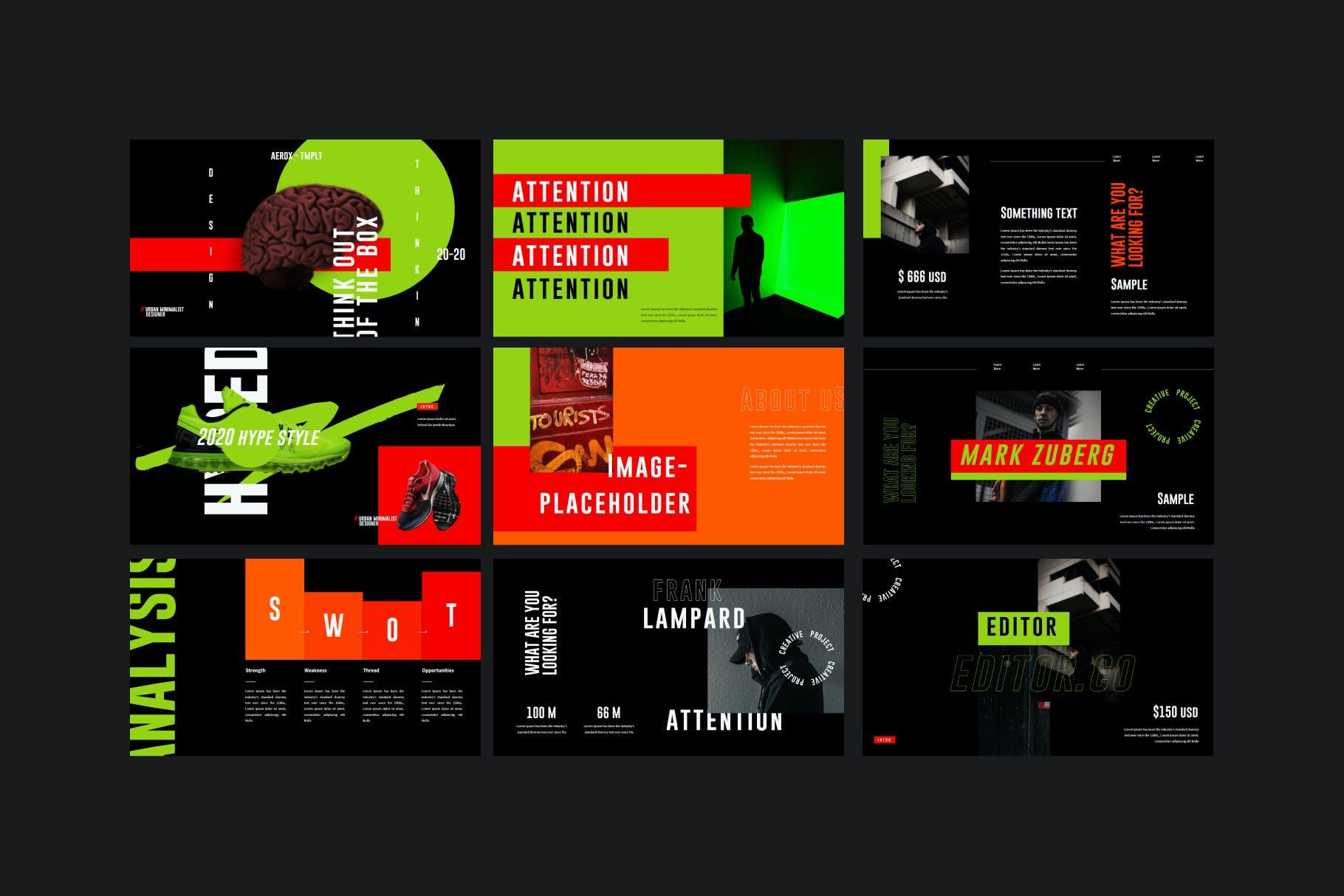时尚潮流撞色运动潮牌品牌推广PPT演示文稿模板素材 Aerox – Powerpoint Template插图(6)