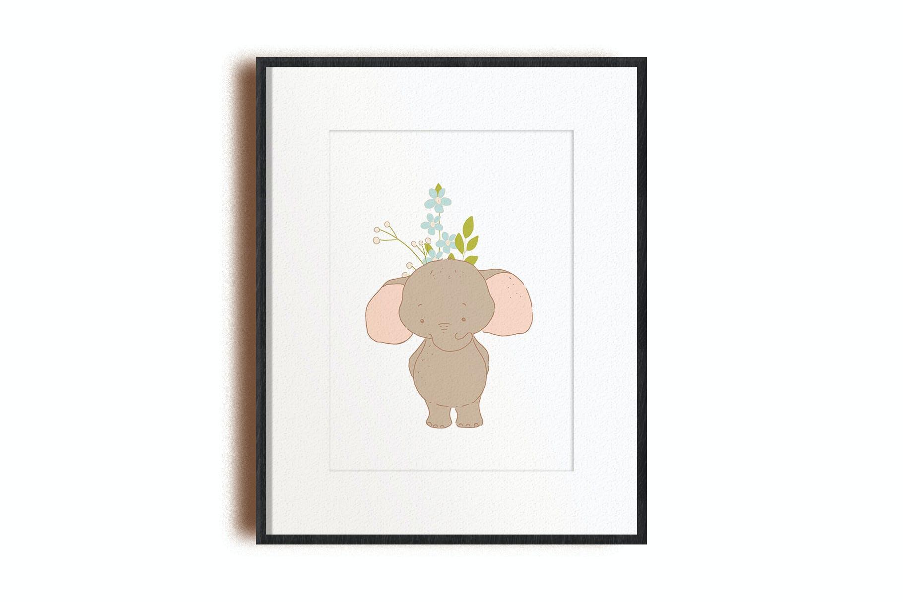 可爱卡通手绘大象花卉插画矢量素材 Baby Shower Elephants插图(6)