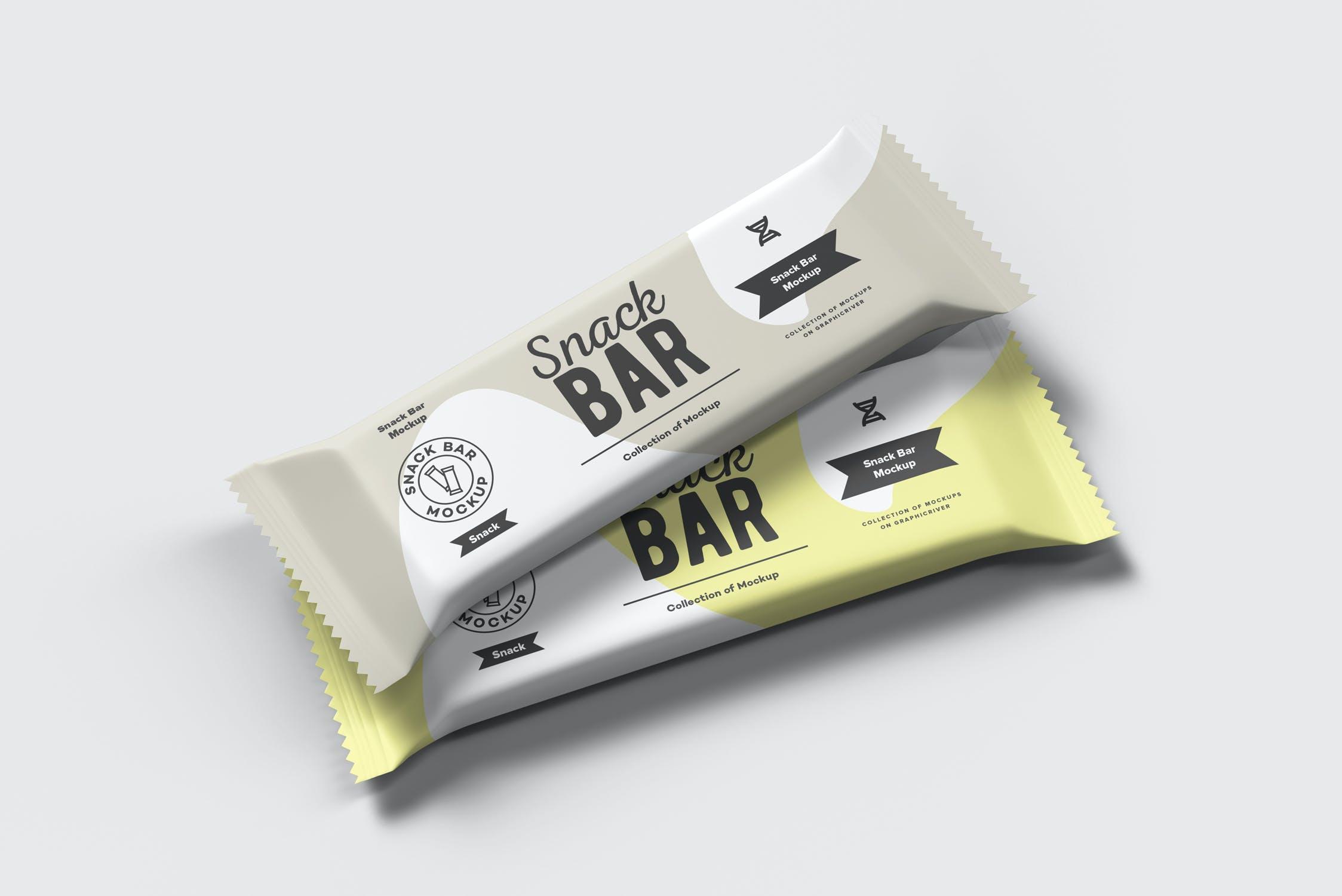 7款巧克力棒小零食塑料袋设计展示样机 Snack Bar Mockup插图(6)