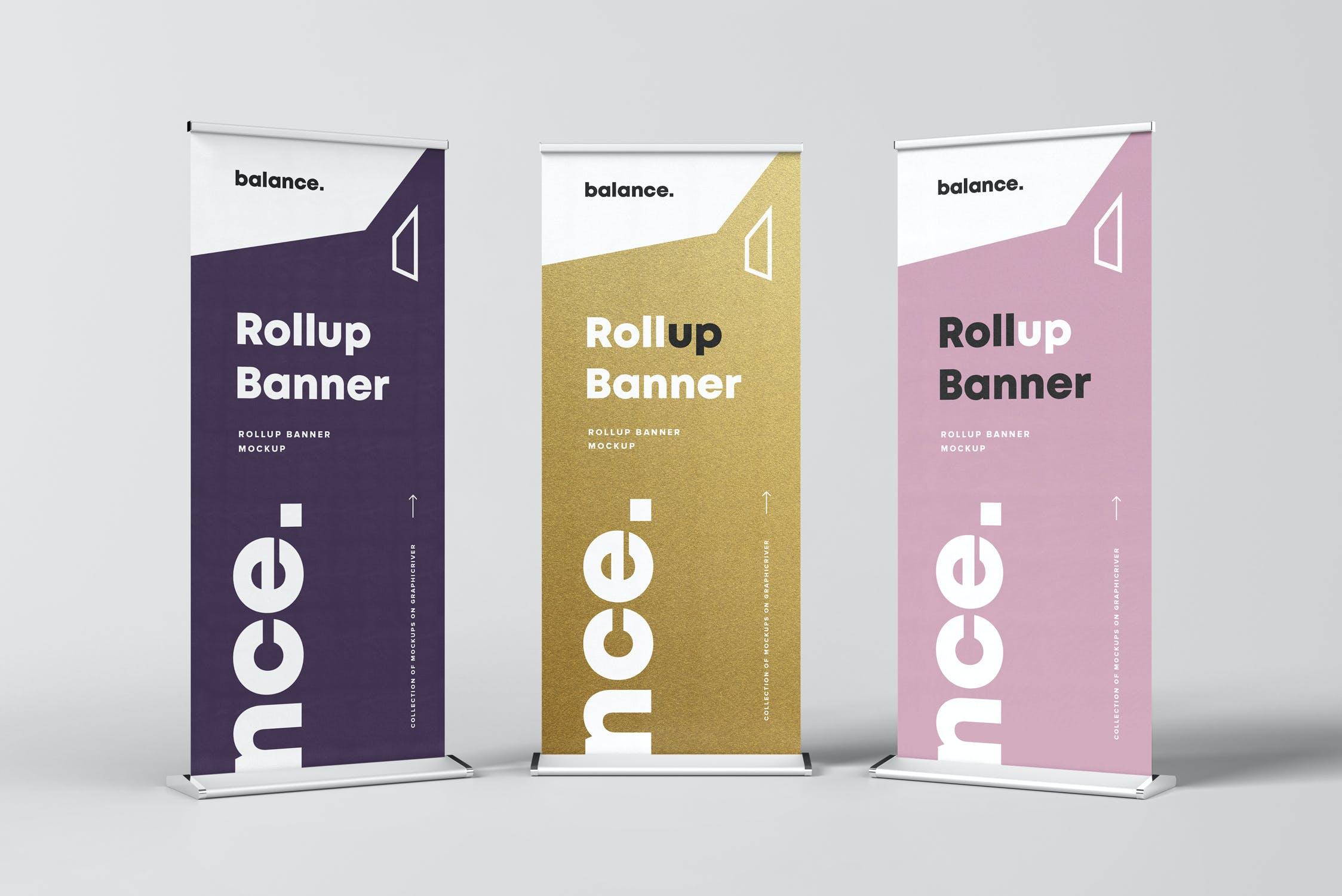 7款自立式易拉宝展架横幅海报设计展示样机模板 Roll Up Banner Mockup插图(6)