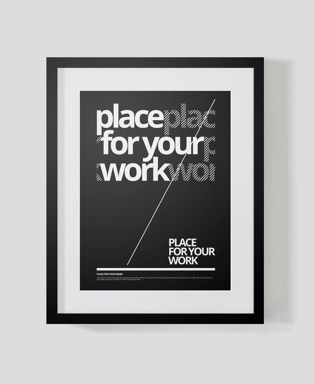 时尚绘画艺术品海报照片展示相框样机PSD模板 Frame For Your Work插图(6)