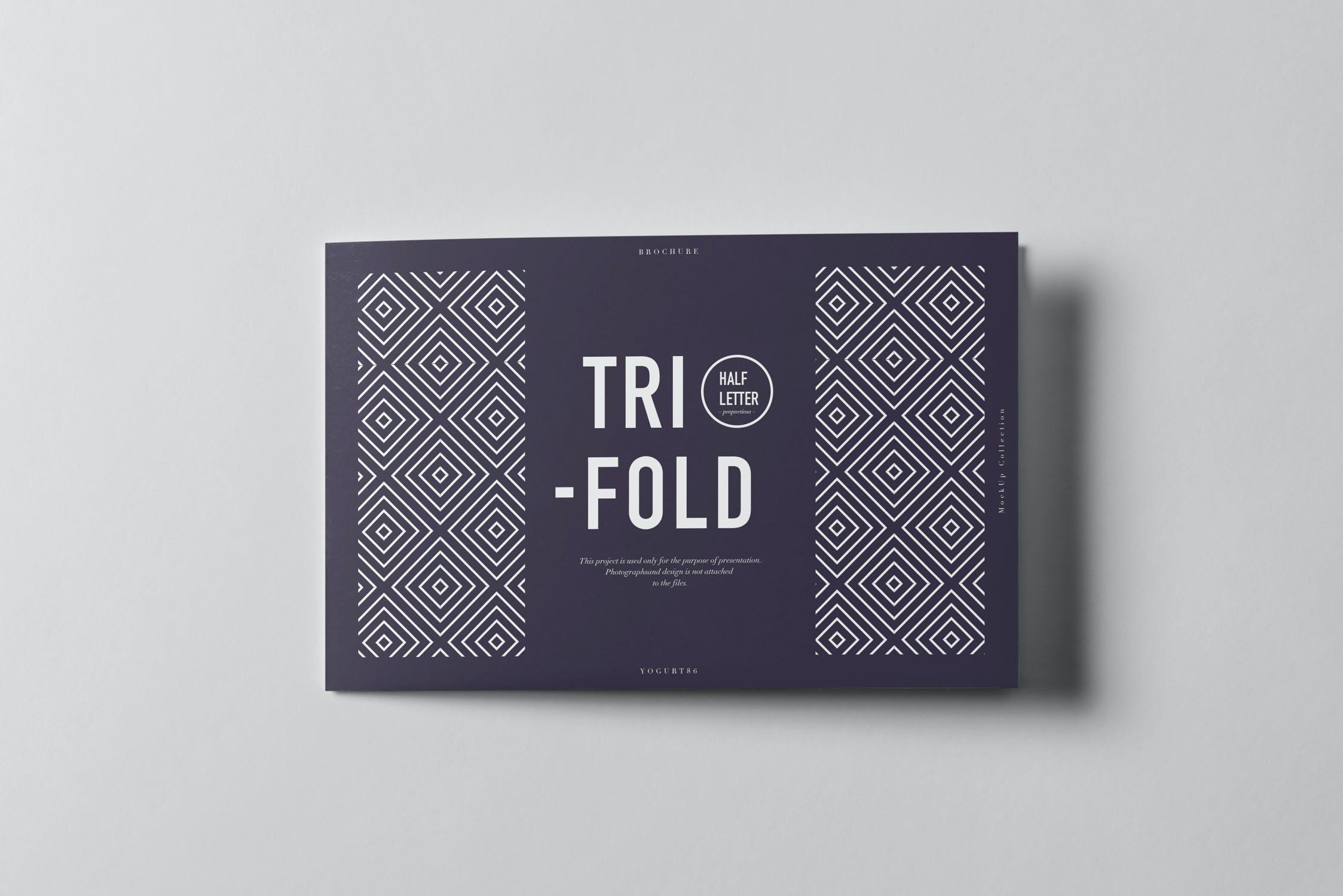 9款横版三折页小册子设计展示样机模板 Tri-Fold Half Letter Horizontal Brochure Mockup插图(6)