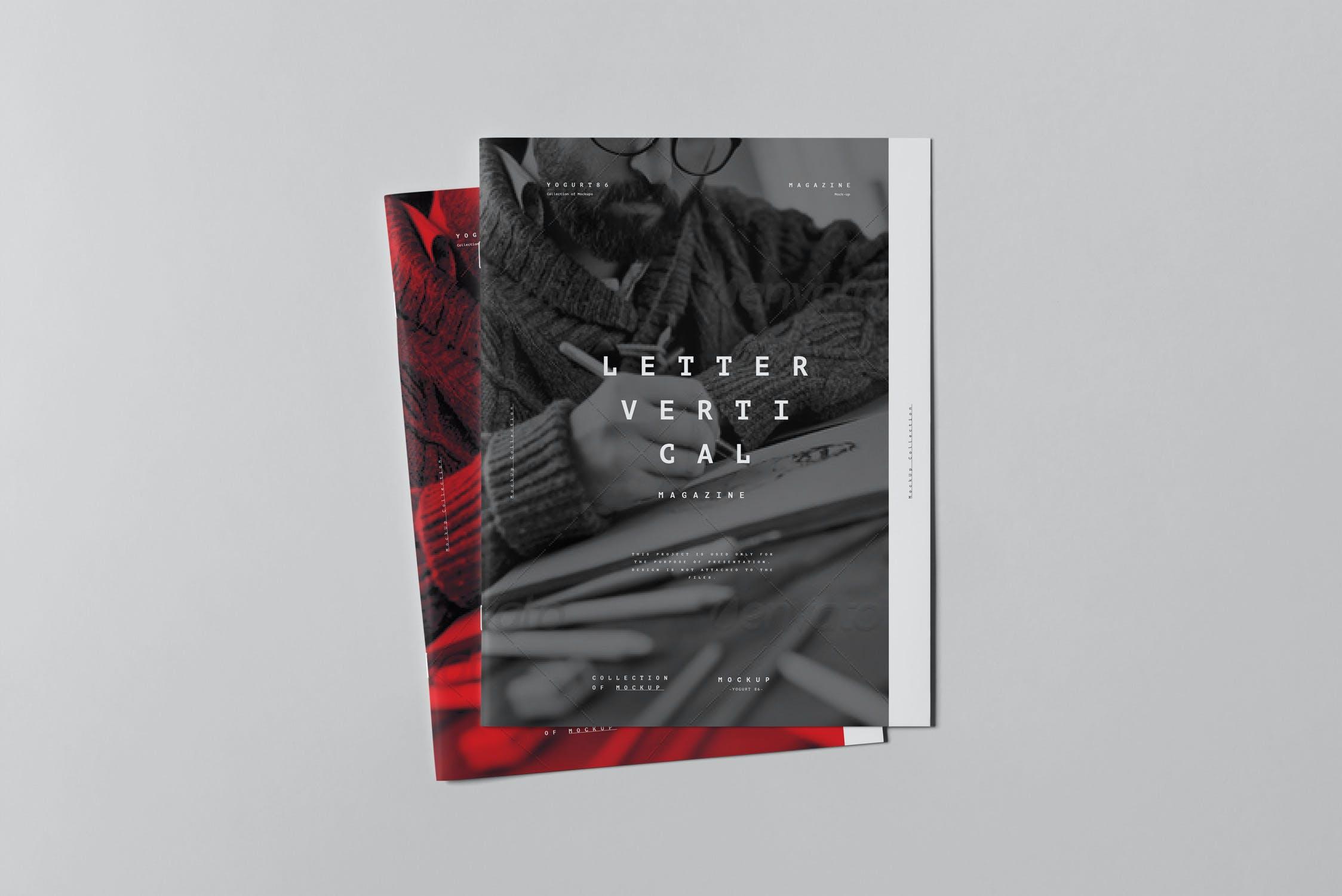10款骑马钉宣传画册杂志设计展示样机模板 US Letter Brochure Mockup 3插图(6)