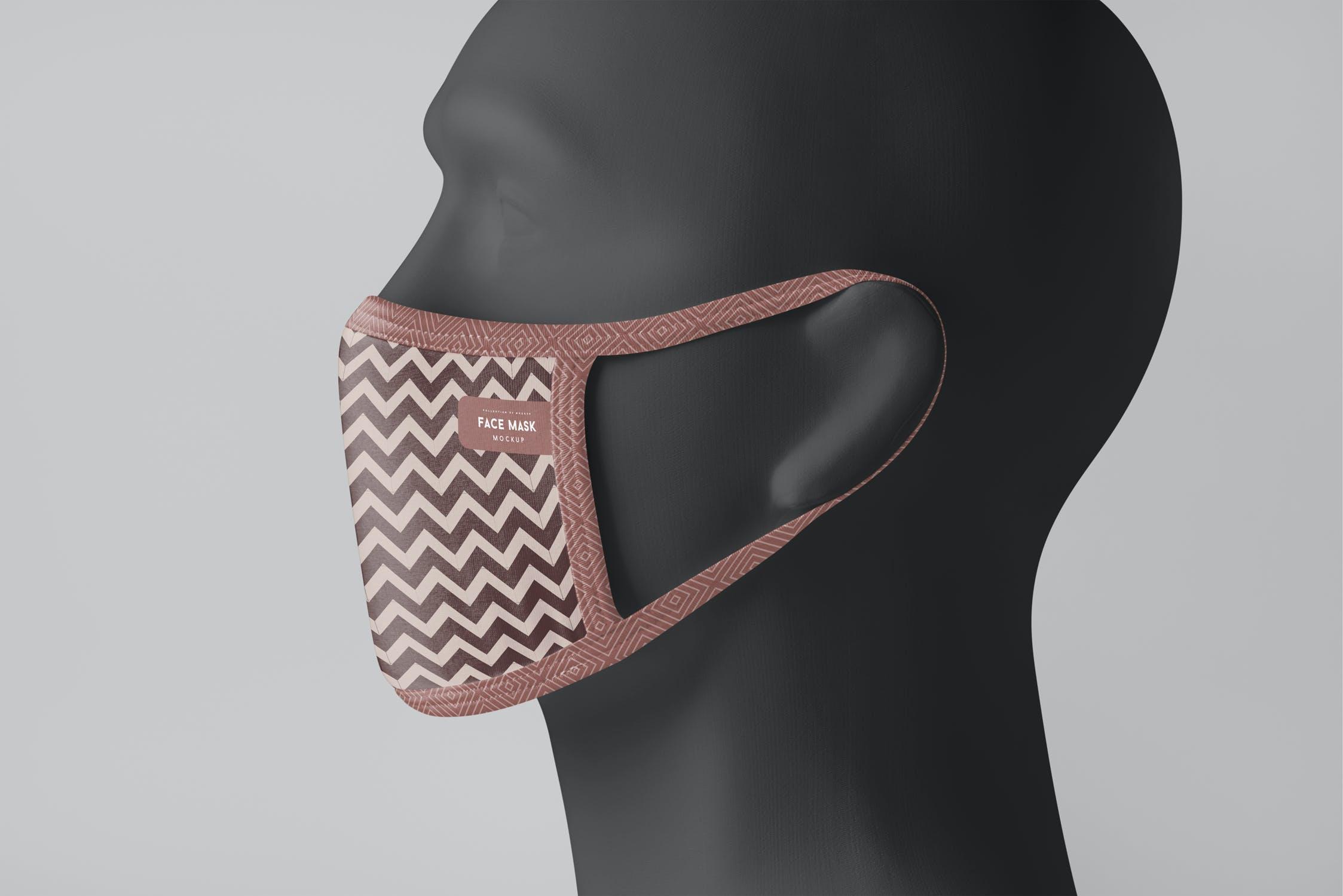 8款防护面罩口罩印花设计展示样机PSD模板 Face Mask Mockup插图(6)