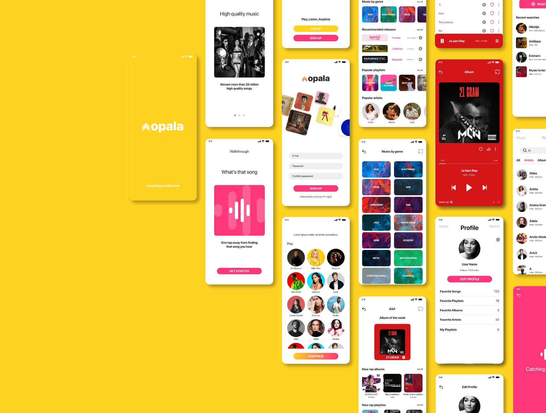 音乐播放器APP应用程序设计UI套件FIG模板 Opala Music app – FIGMA Version插图(4)