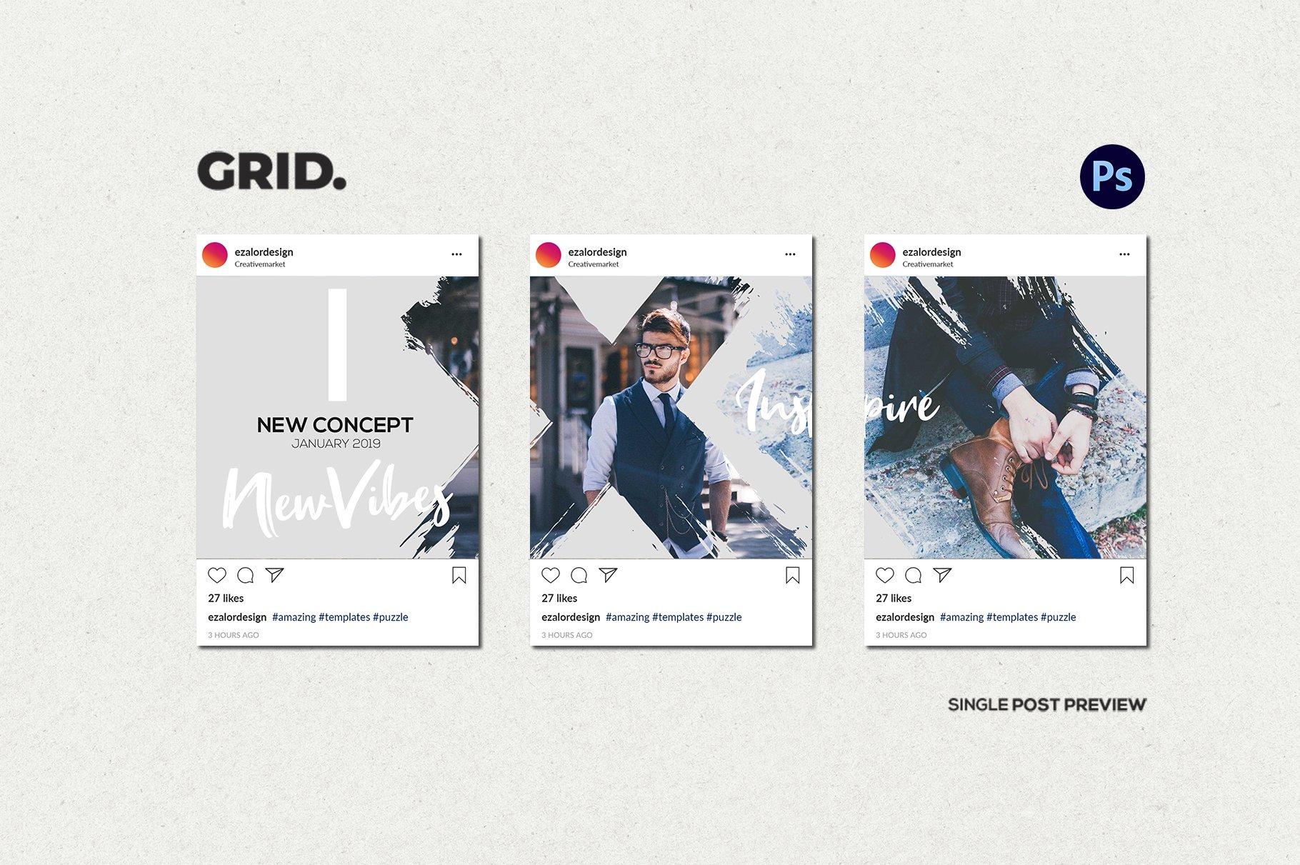 毛笔笔刷效果新媒体电商海报设计PSD模板 Agenda Insta Grid (Triple Posts)插图(6)