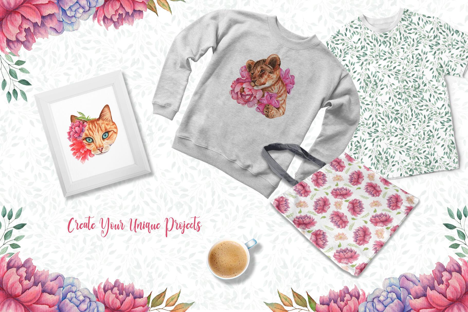 高清手绘花卉和动物水彩画图片集 Watercolor Flowers and Animals Set插图(6)