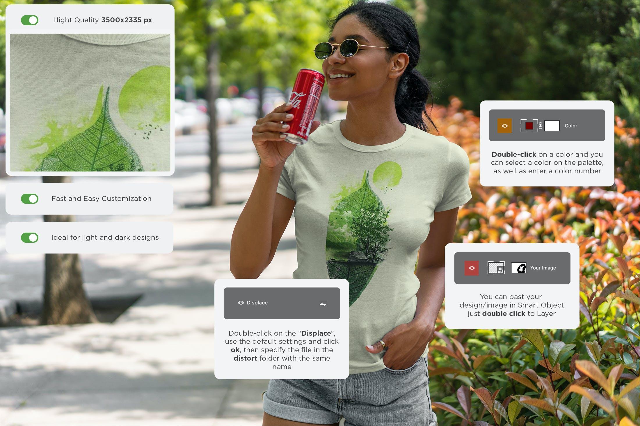 9款女性T恤半袖衫设计展示样机 T-Shirt Mockup Black Girl插图(7)