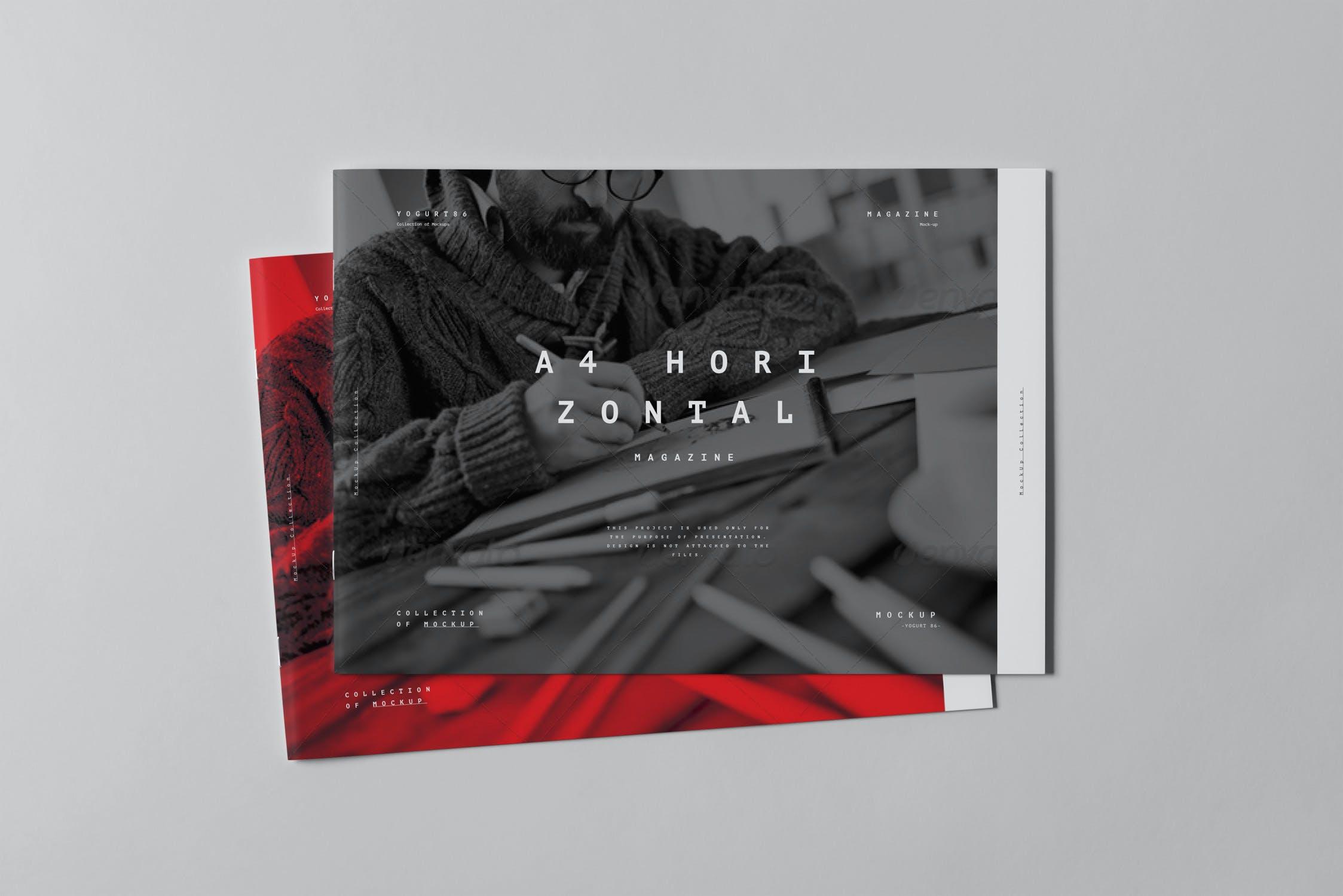 10款横版A4画册杂志设计展示样机模板 A4 Horizontal Brochure Mockup 3插图(7)