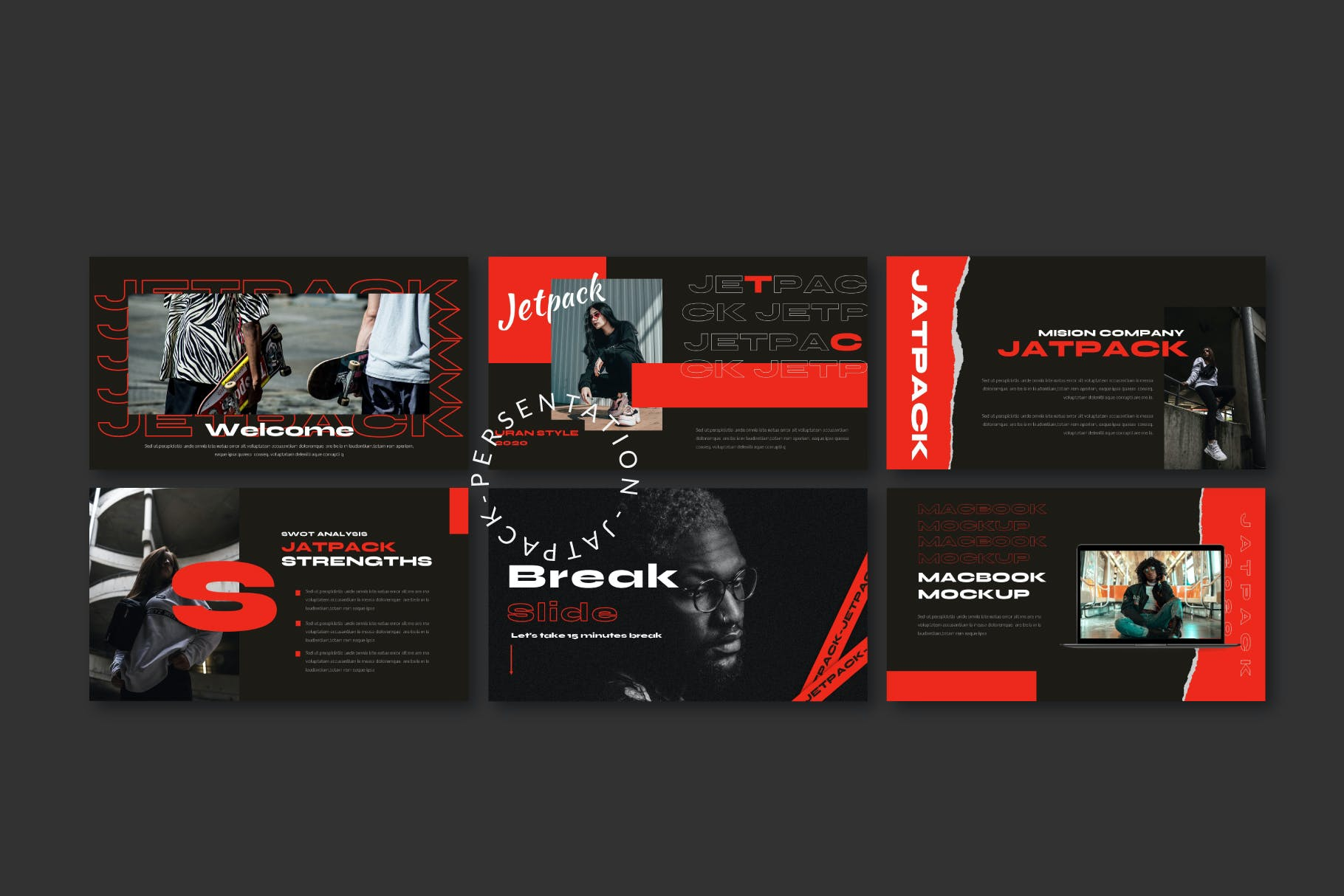 时尚潮流街头文化潮牌品牌推广深色PPT演示文稿模板 Jetpack – Powerpoint Template插图(7)