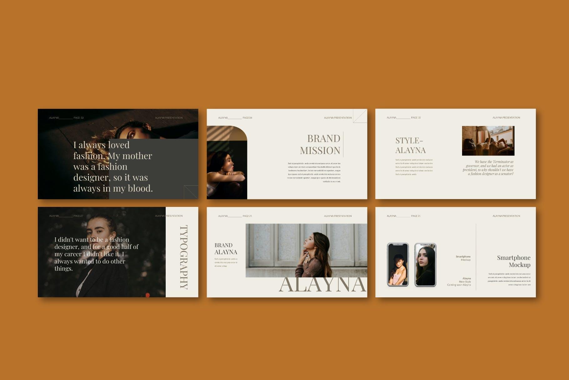 现代极简主义优雅轻奢品牌推广PPT演示文稿模板素材 Alayna – Powerpoint Template插图(7)