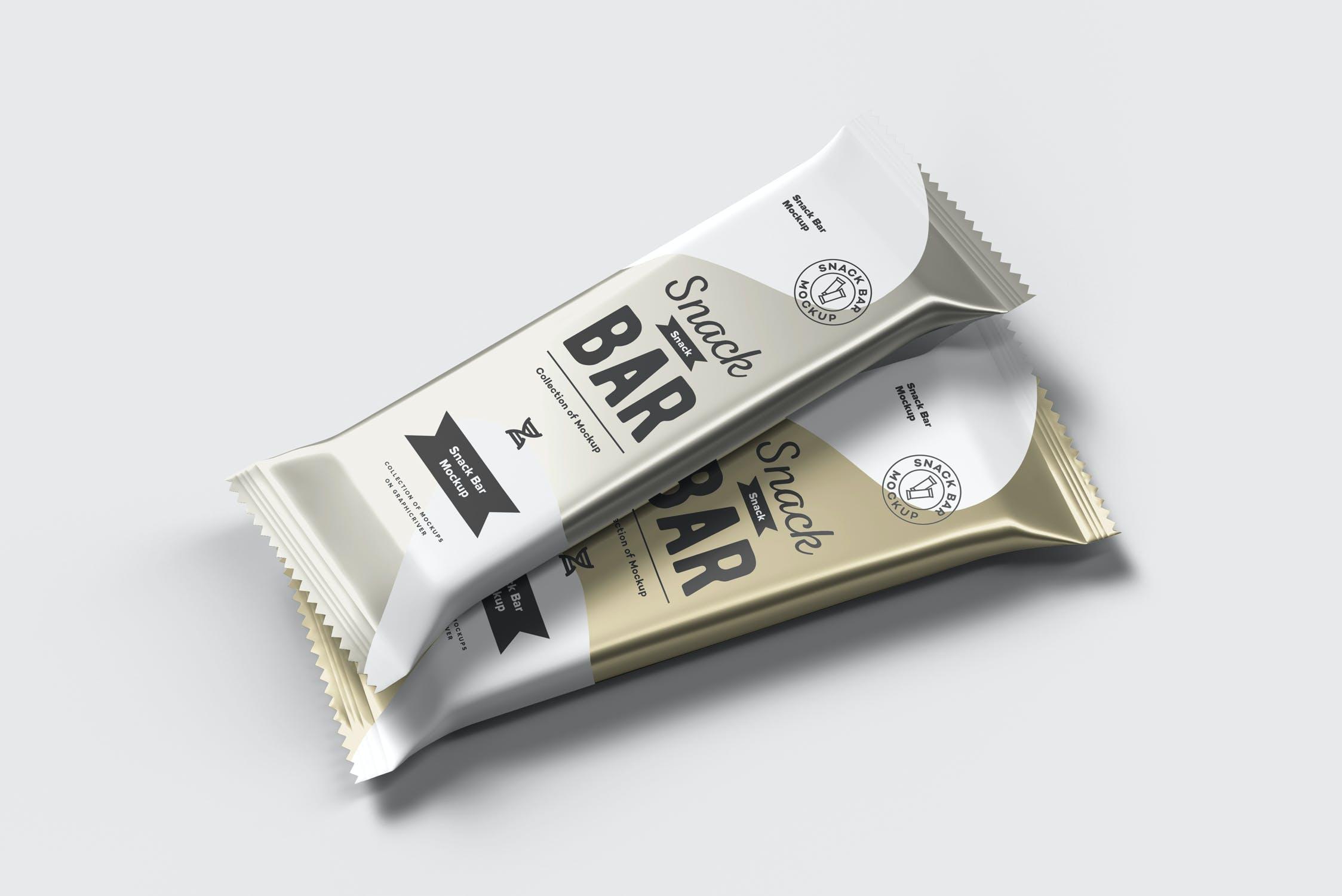 7款巧克力棒小零食塑料袋设计展示样机 Snack Bar Mockup插图(7)
