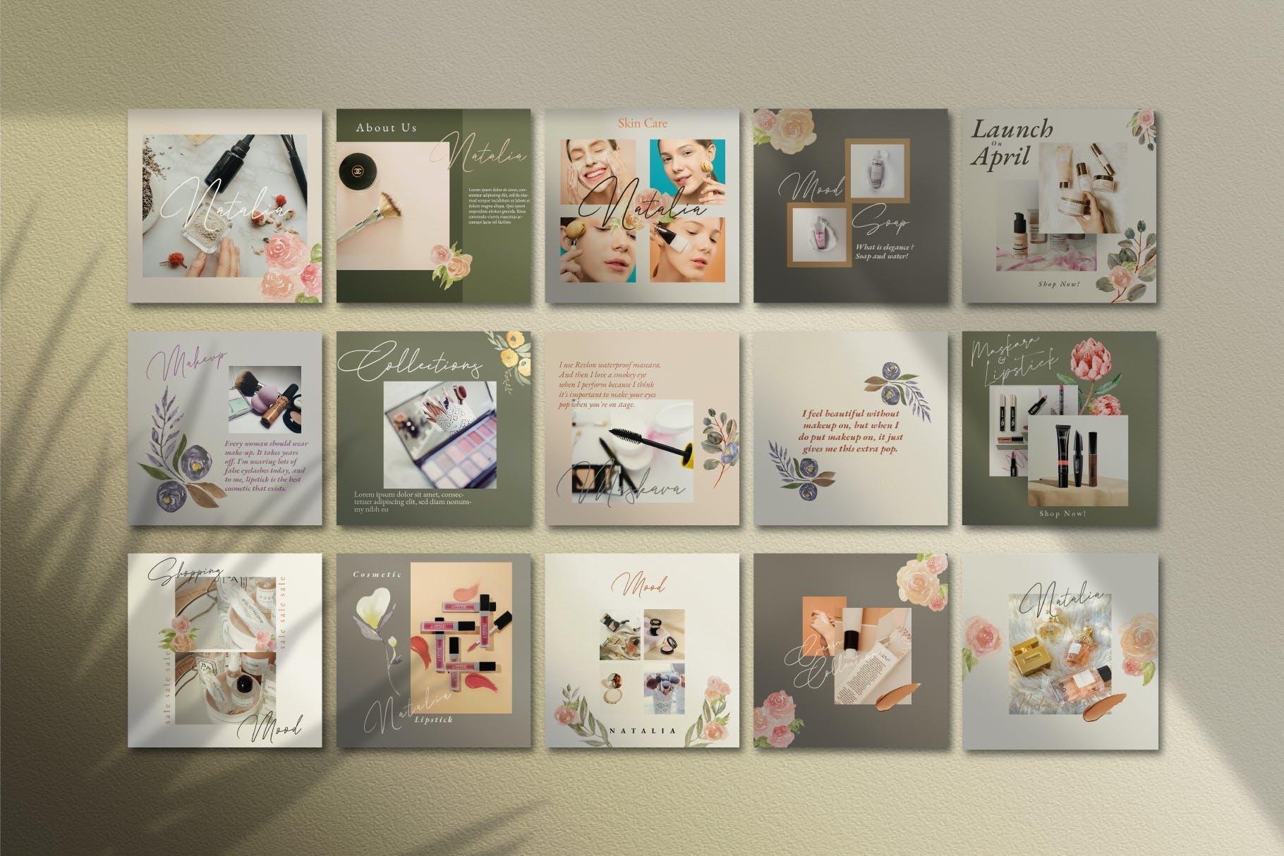 时尚化妆品品牌推广新媒体电商海报设计模板 Natalia – Instagram Post and Stories插图(7)