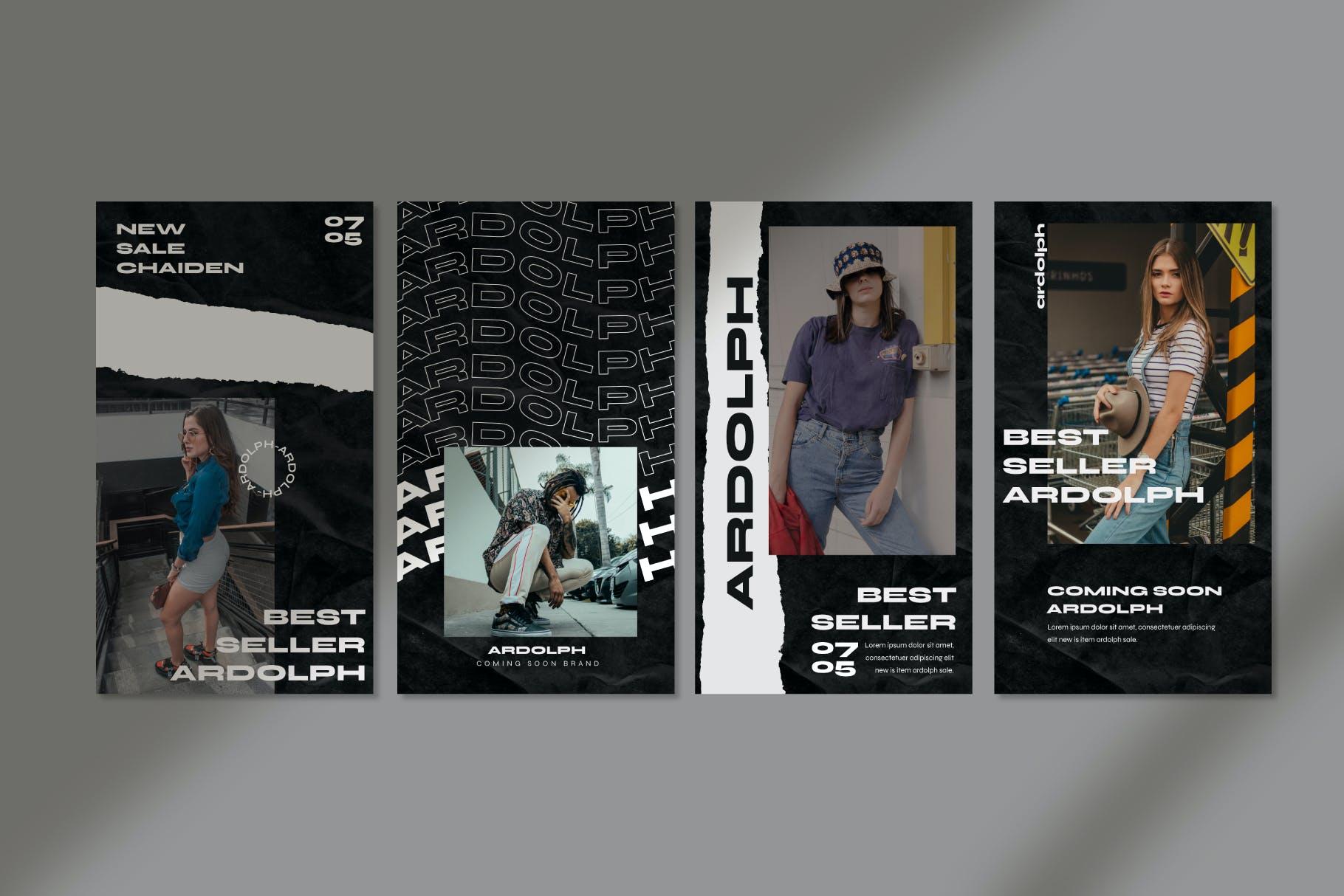 时尚撕纸效果街头潮牌品牌推广新媒体海报设计PSD模板 Ardolph – Instagram Post and Stories插图(7)