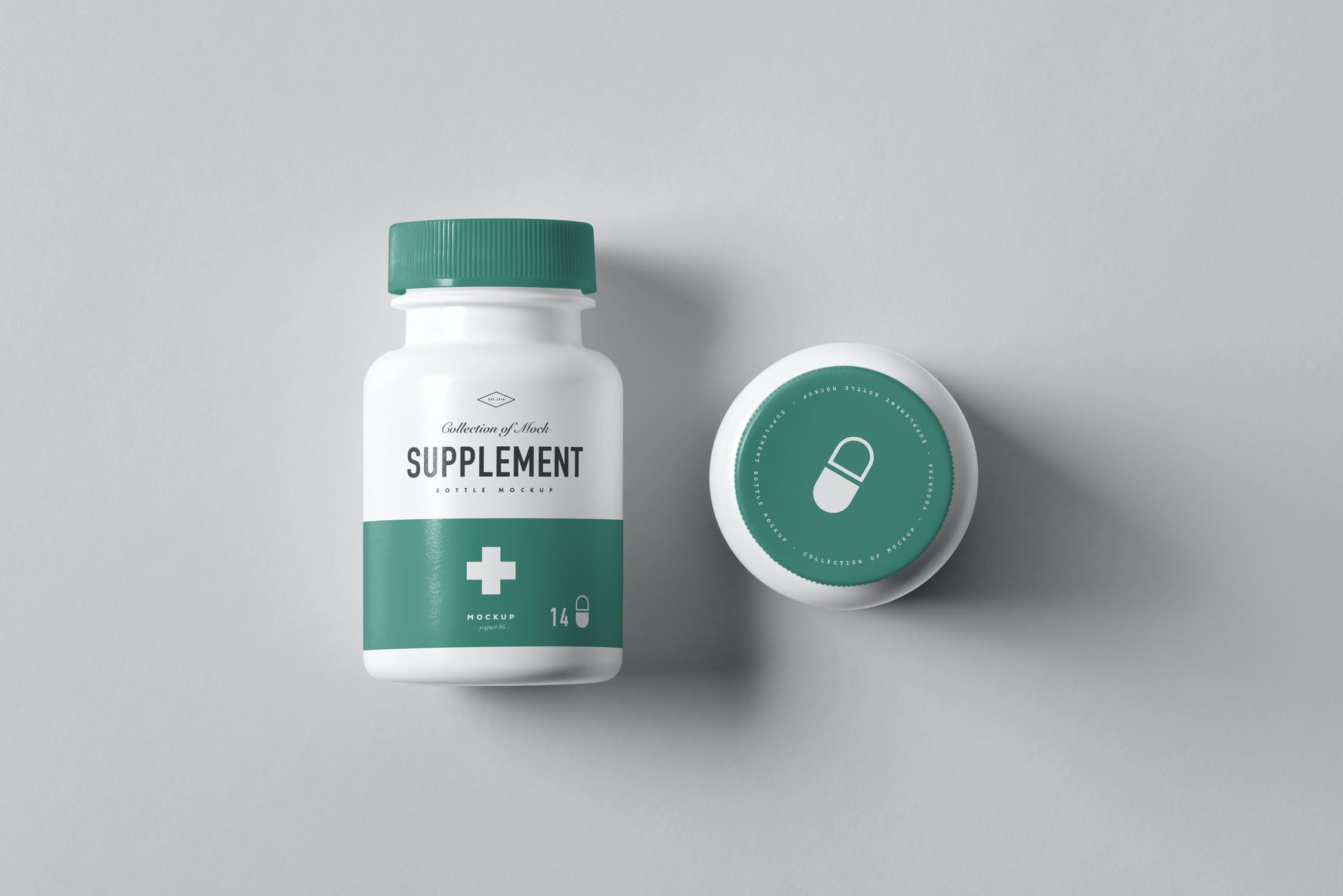 8款药物补充瓶塑料瓶包装盒设计展示样机模板 Supplement Bottle Mockup插图(7)