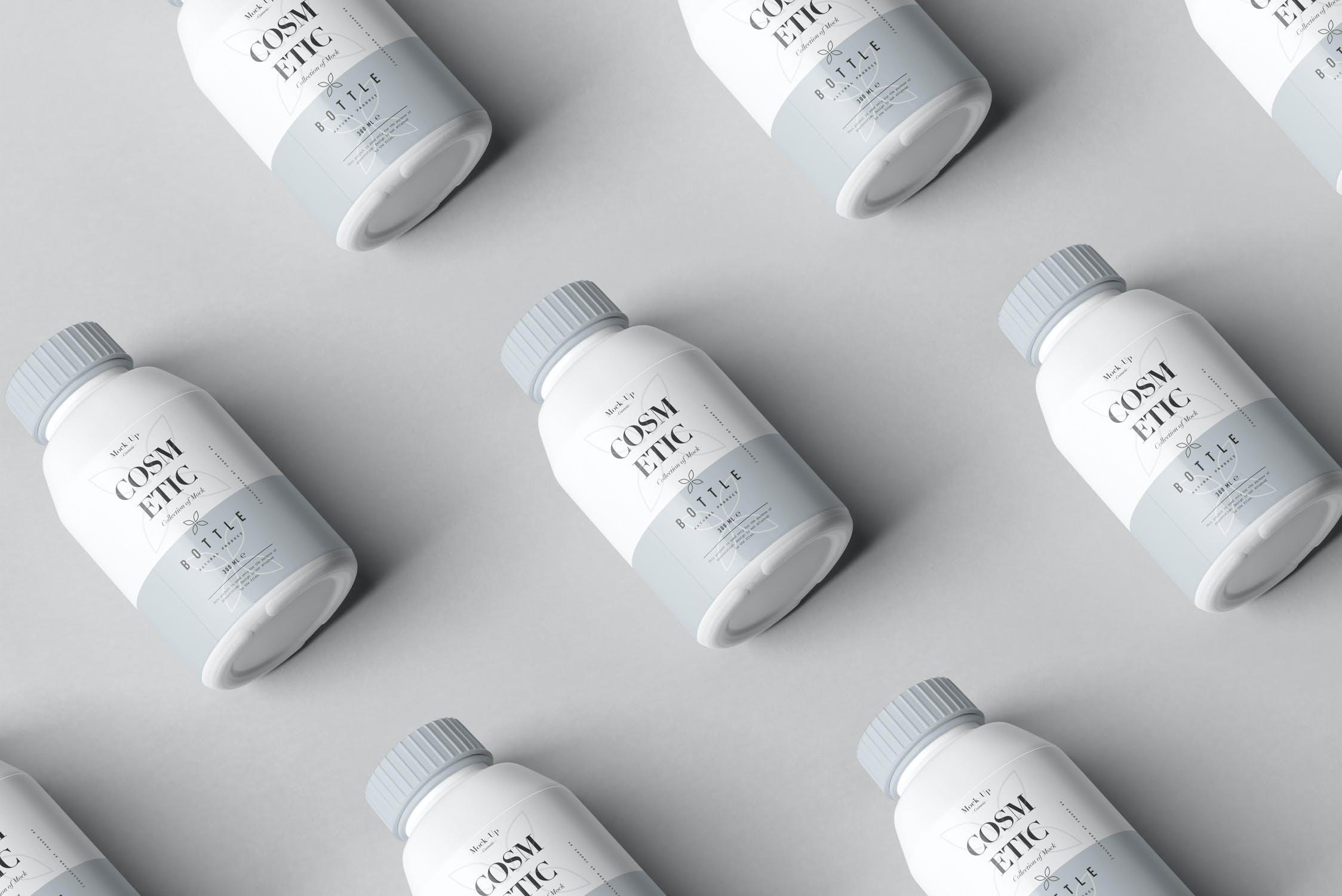 10款化妆品塑料包装罐设计展示样机PSD模板 Cosmetic Bottle Mockup 3插图(7)