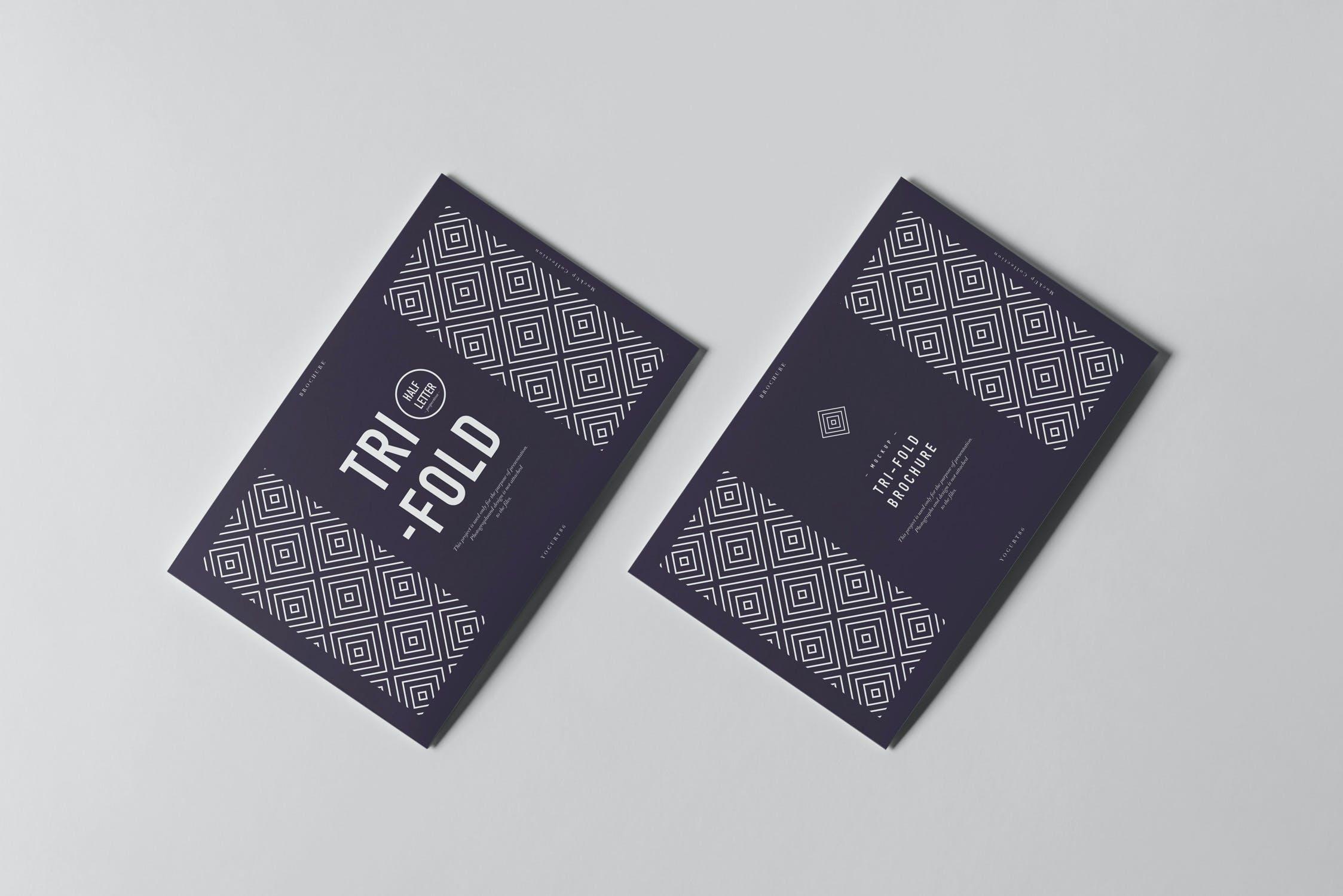 9款横版三折页小册子设计展示样机模板 Tri-Fold Half Letter Horizontal Brochure Mockup插图(7)