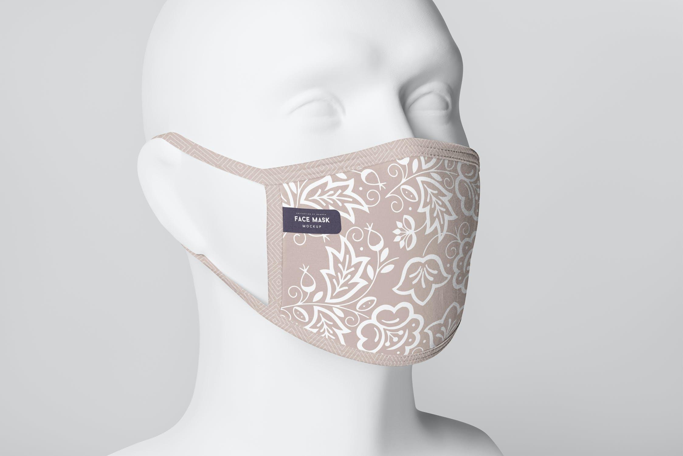 8款防护面罩口罩印花设计展示样机PSD模板 Face Mask Mockup插图(7)